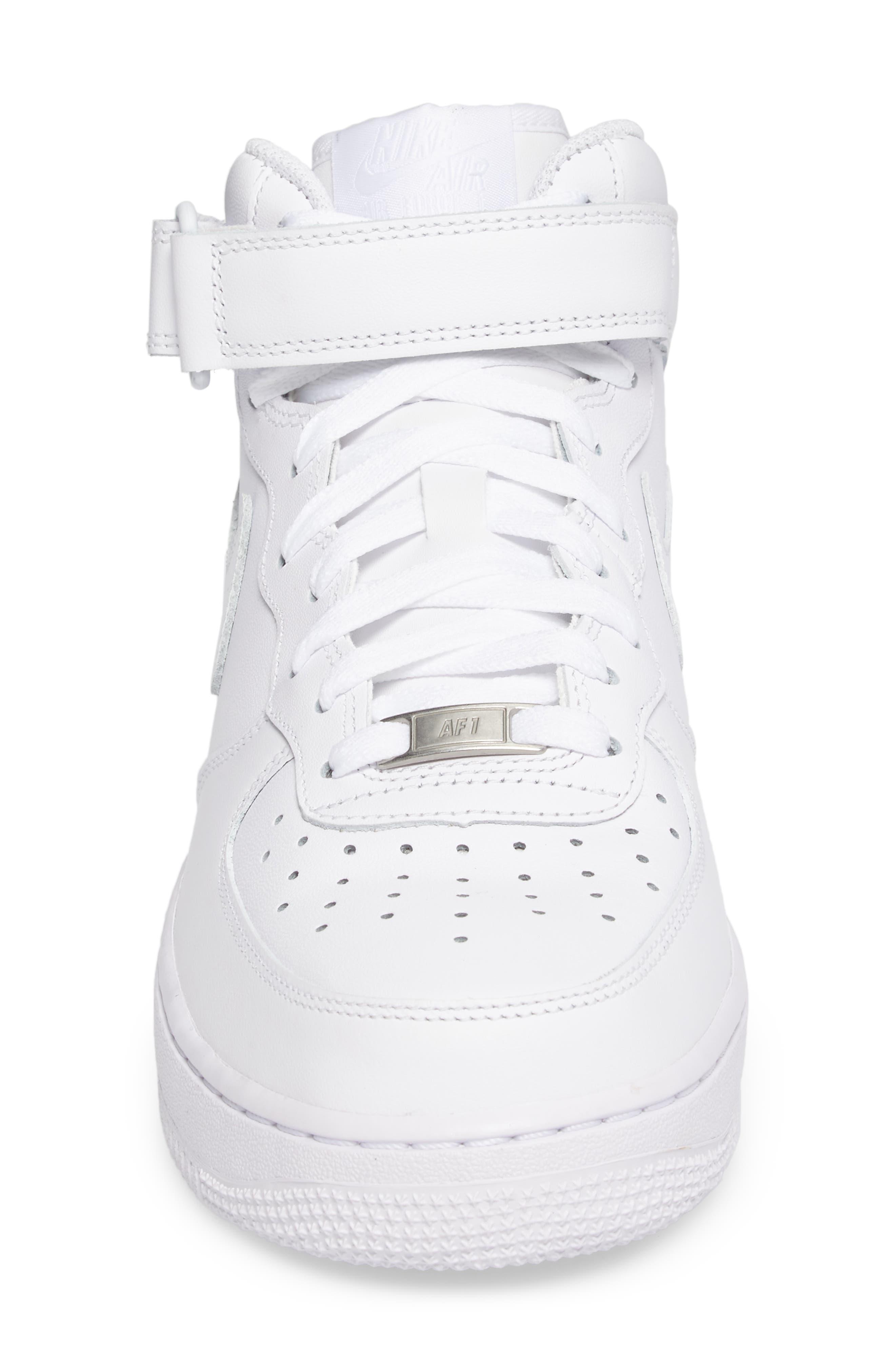 Air Force 1 Mid '07 Sneaker,                             Alternate thumbnail 4, color,                             White/ White