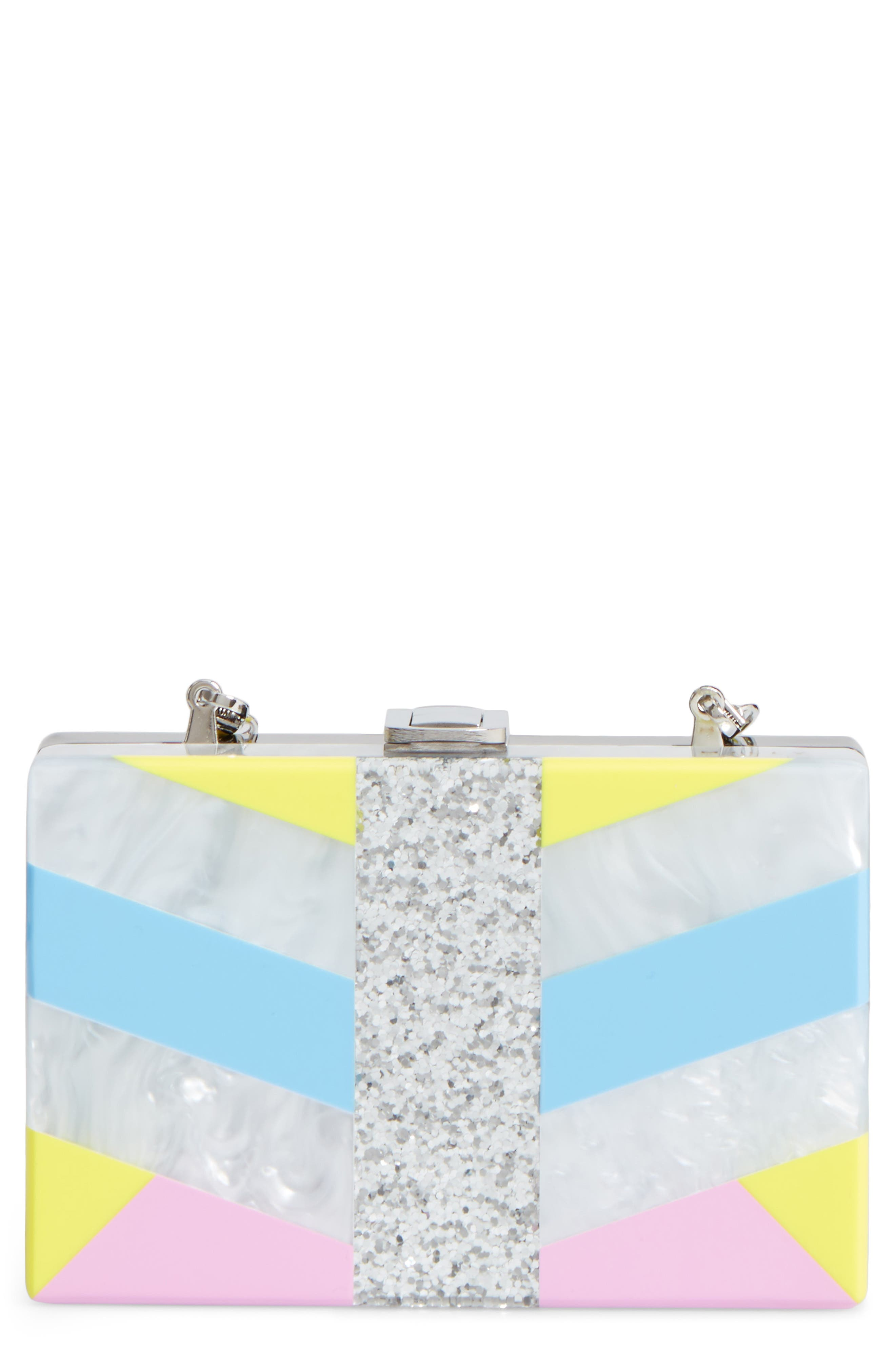 MILLY Chevron Stripe Box Clutch