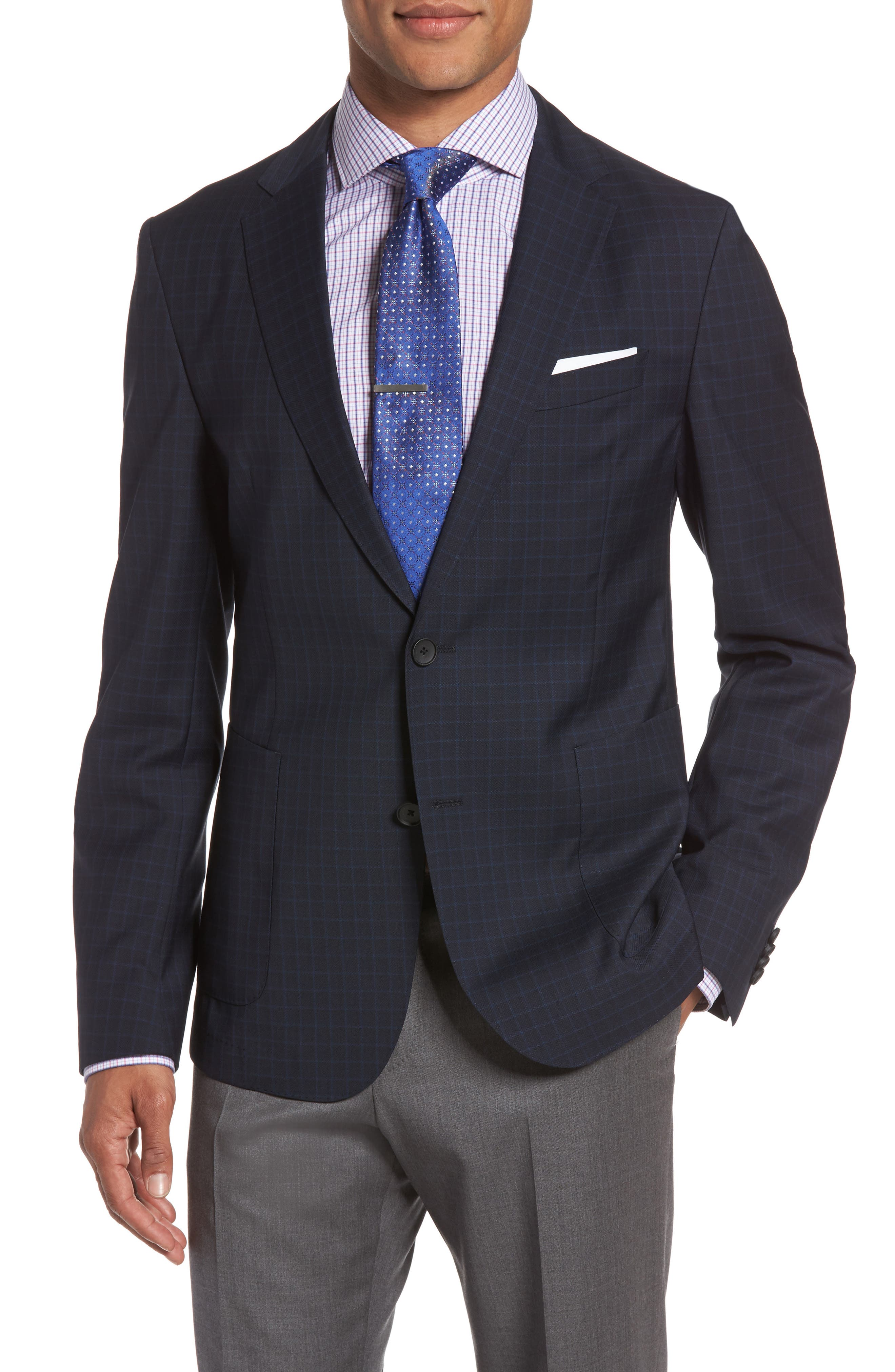 BOSS Nold 8 Trim Fit Windowpane Wool Sport Coat