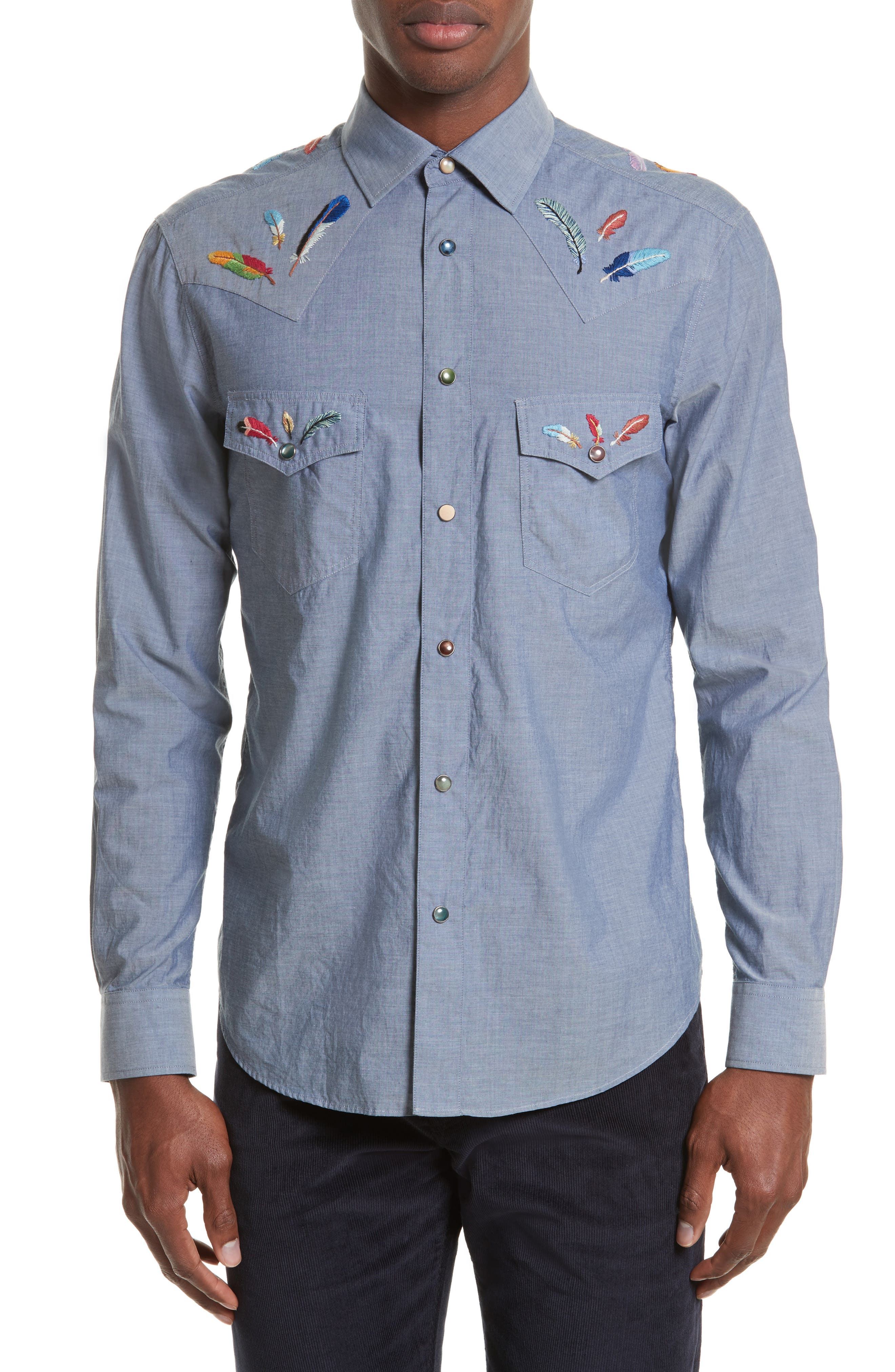 Paul Smith Embroidered Chambray Western Shirt