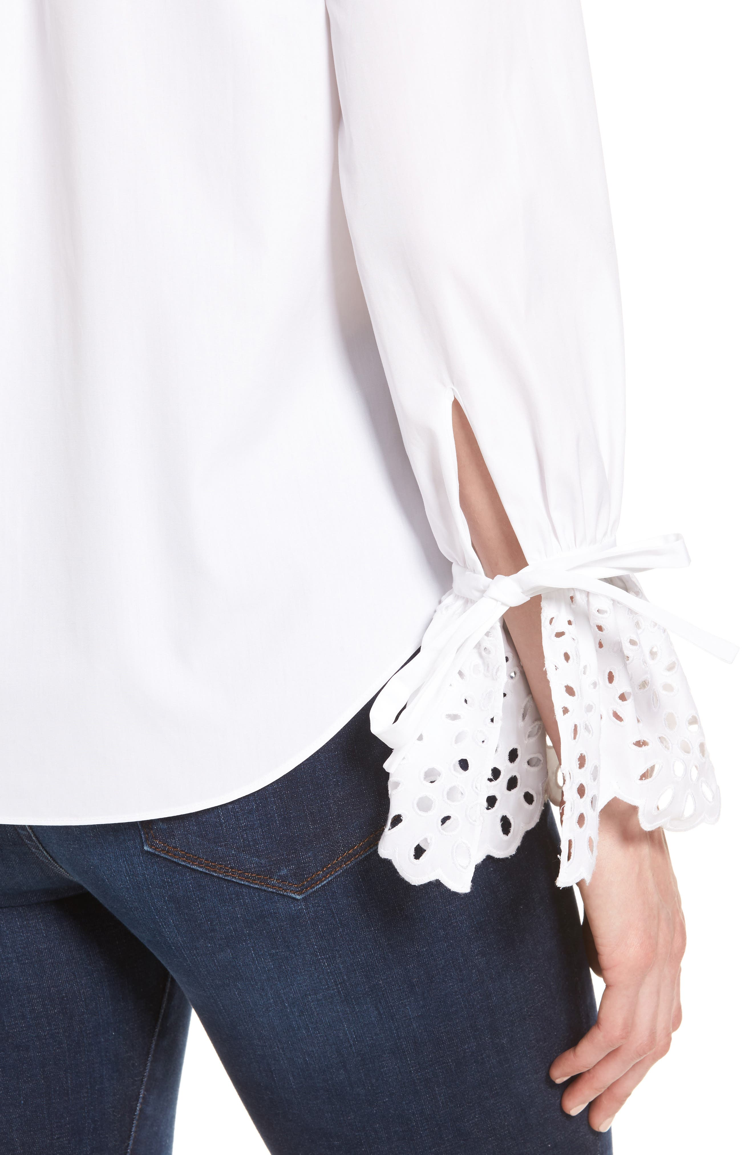 Alternate Image 4  - Nordstrom Signature Eyelet Cuff Poplin Blouse