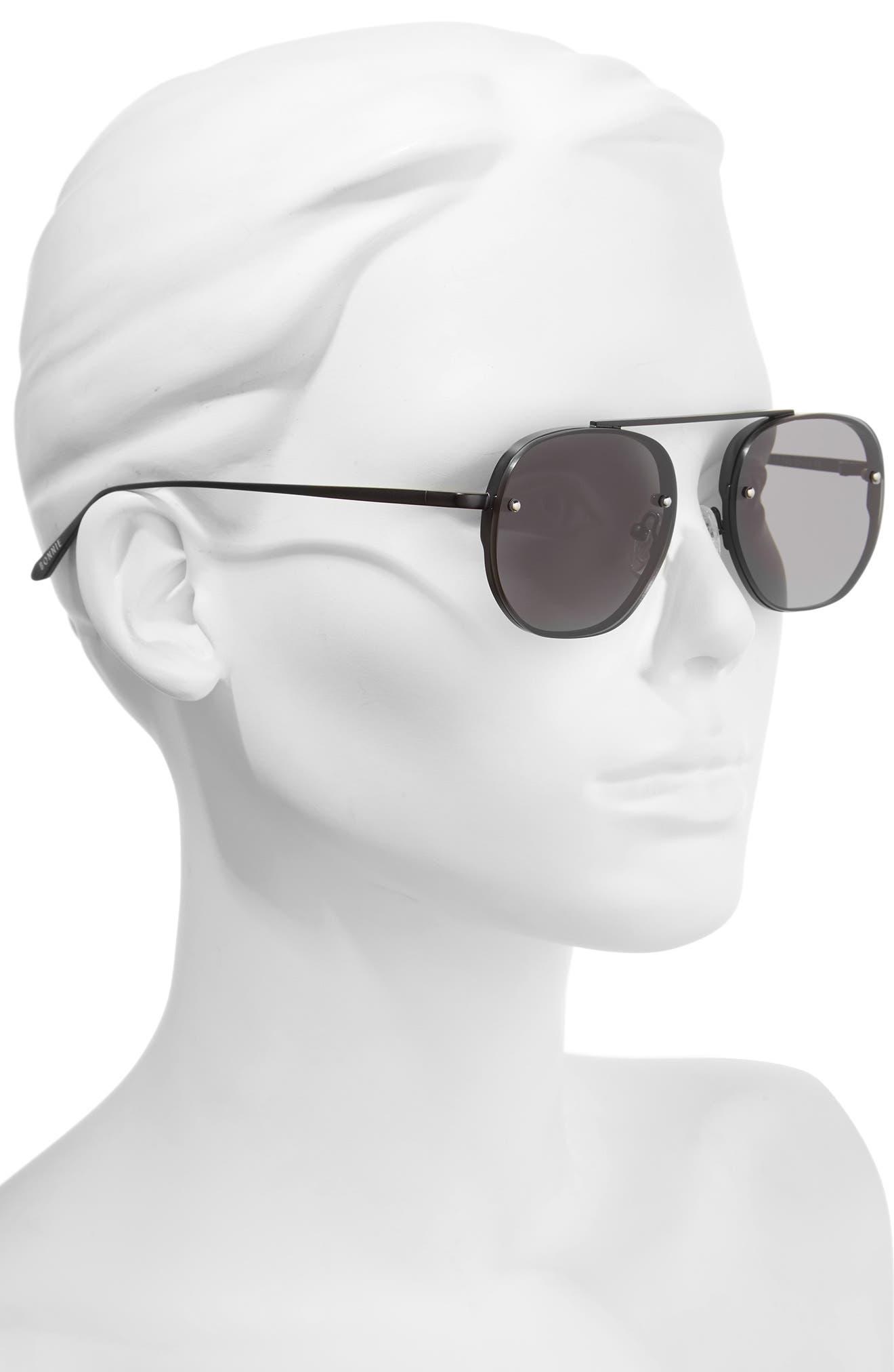 Traction 52mm Aviator Sunglasses,                             Alternate thumbnail 3, color,                             Gravity Black