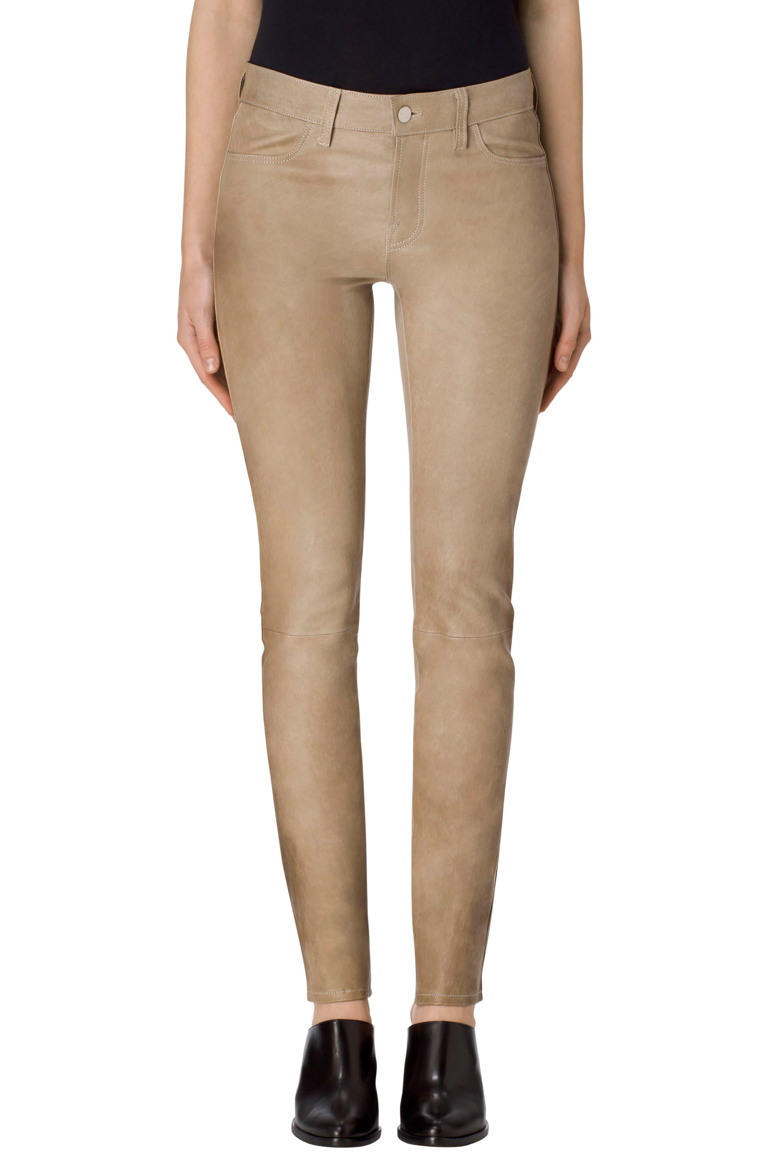 Maude Leather Cigarette Pants,                         Main,                         color, Leaden