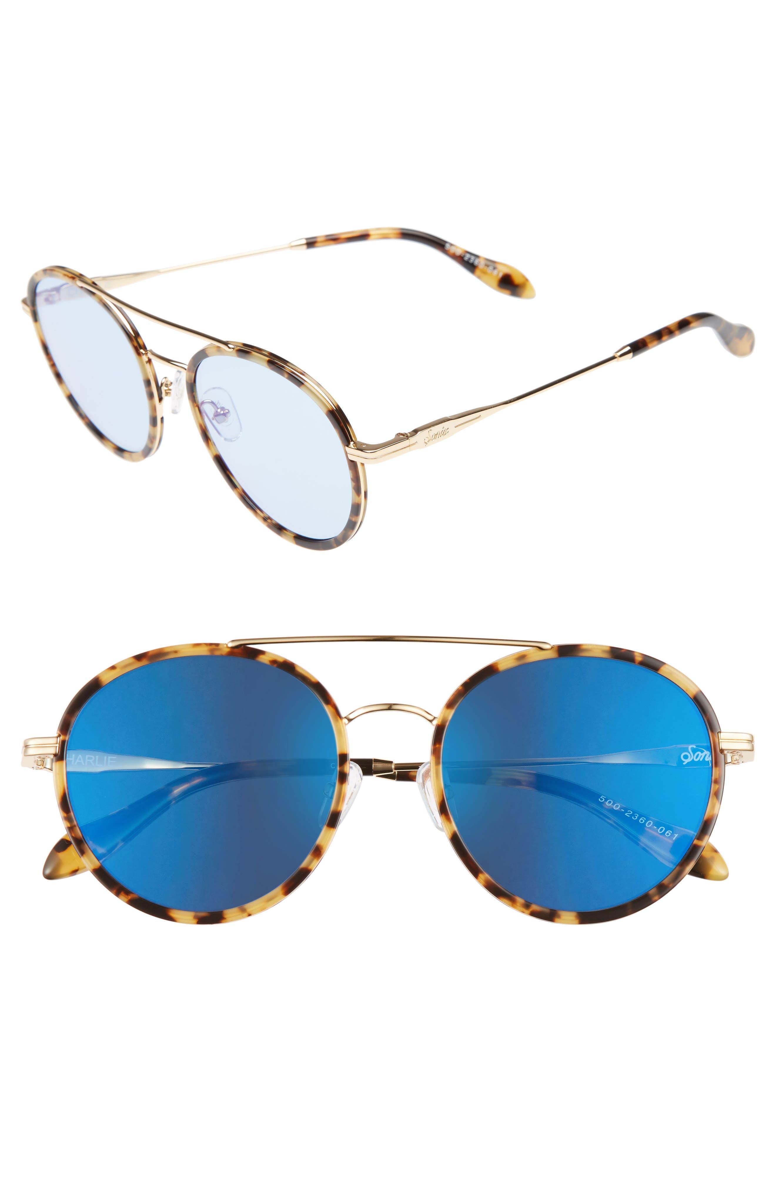 Charli 50mm Mirrored Lens Round Sunglasses,                         Main,                         color, Brown Tortoise/ Powder Mirror