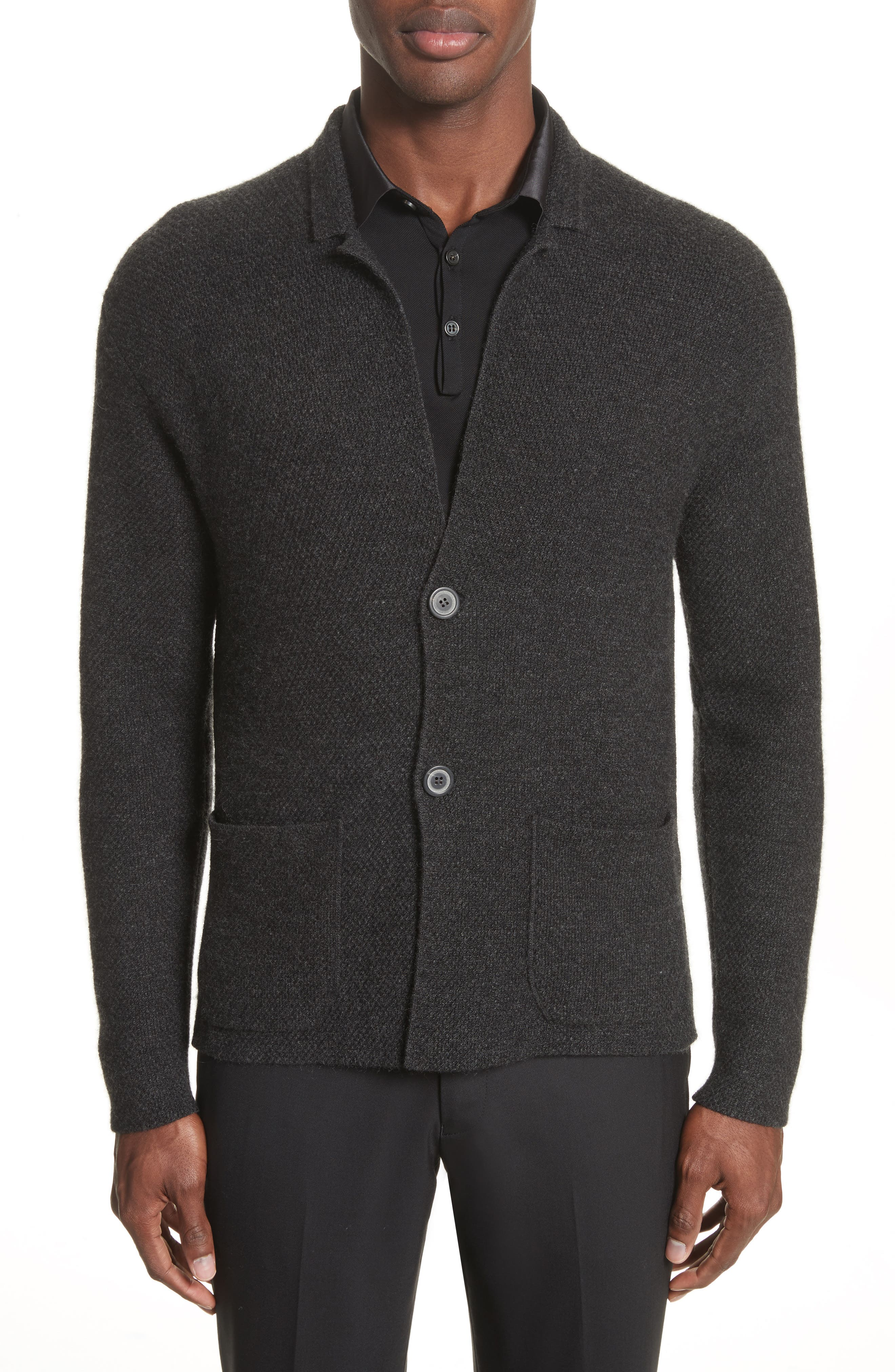 Cashmere Sweater Jacket,                         Main,                         color, Anthracite