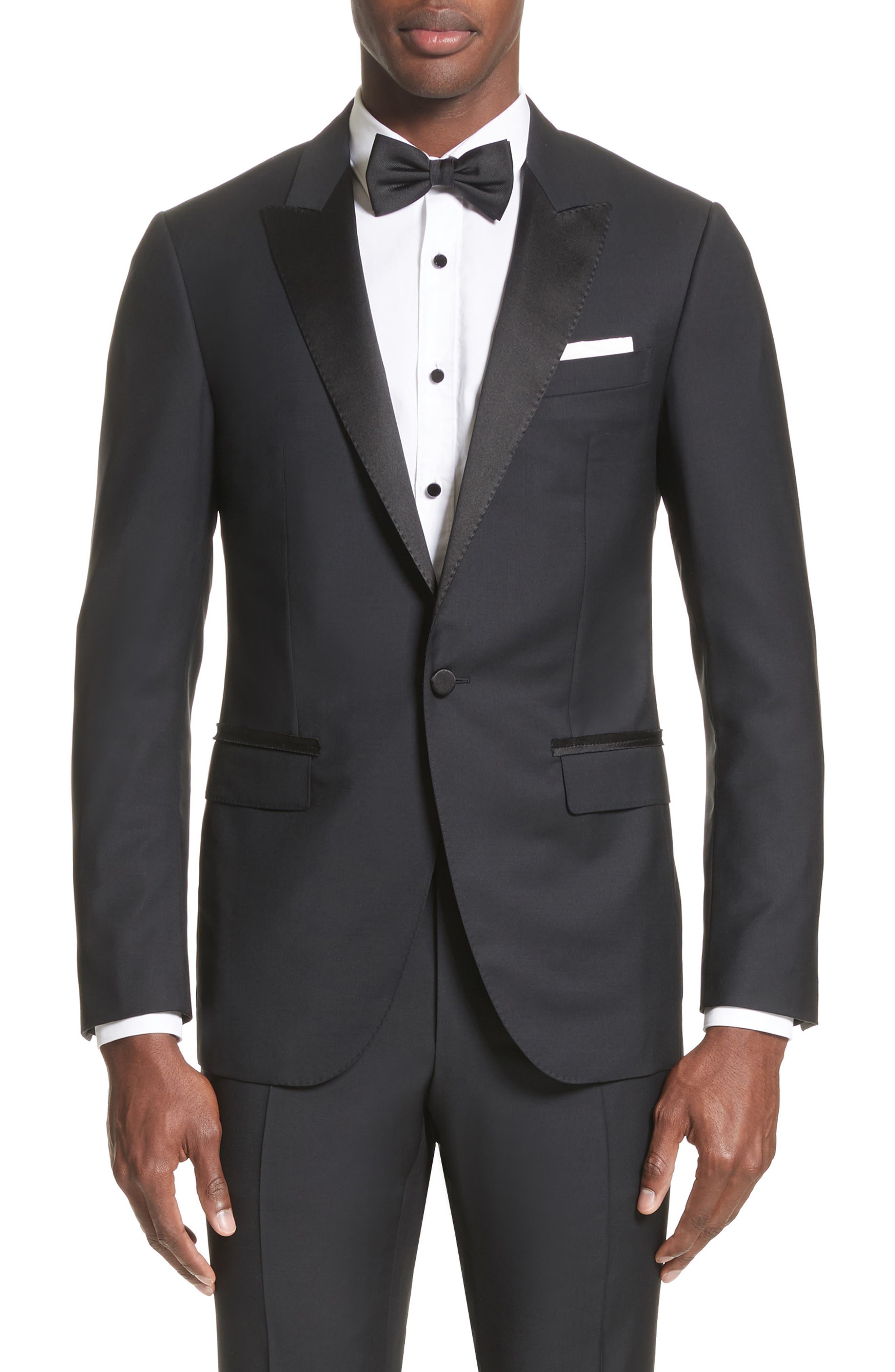 Peak Lapel Wool Blend Tuxedo,                             Alternate thumbnail 5, color,                             Navy