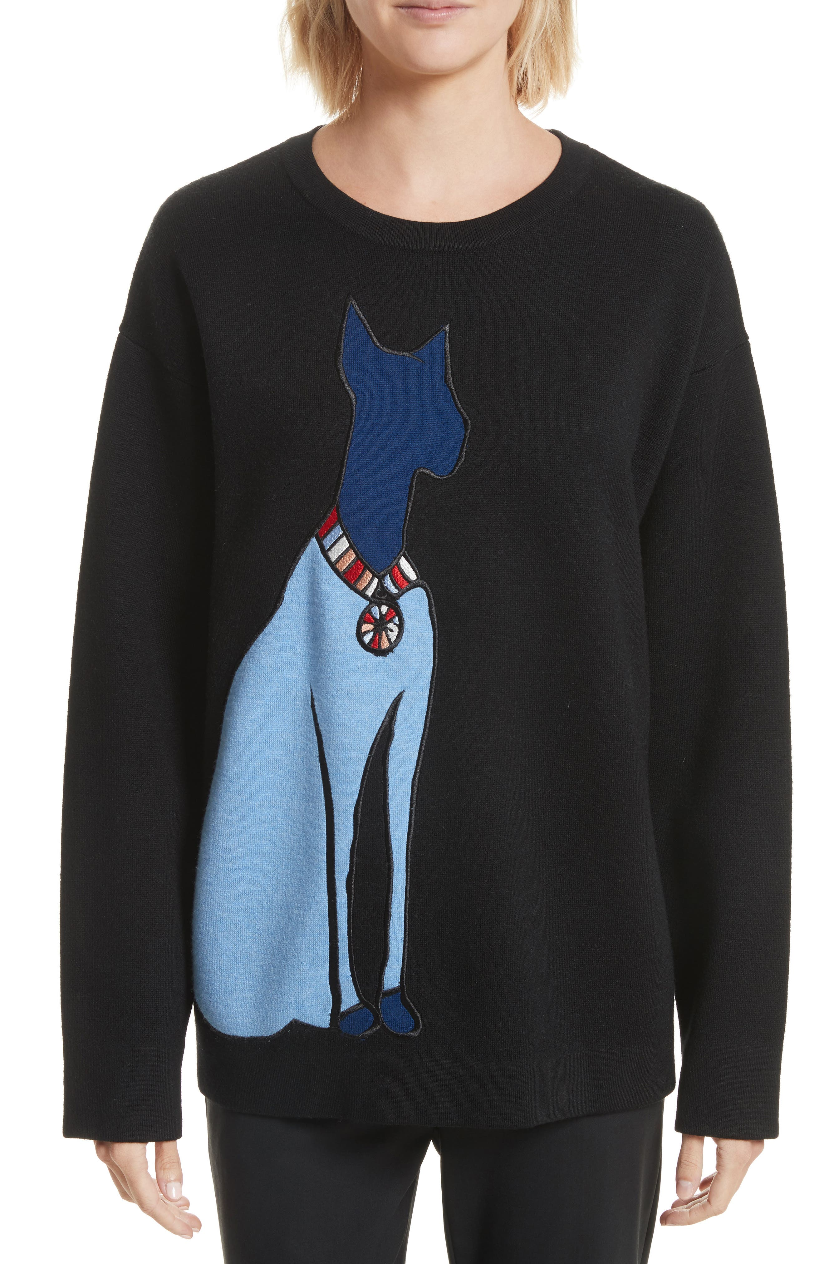 Embroidered Cat Pullover,                             Main thumbnail 1, color,                             Black