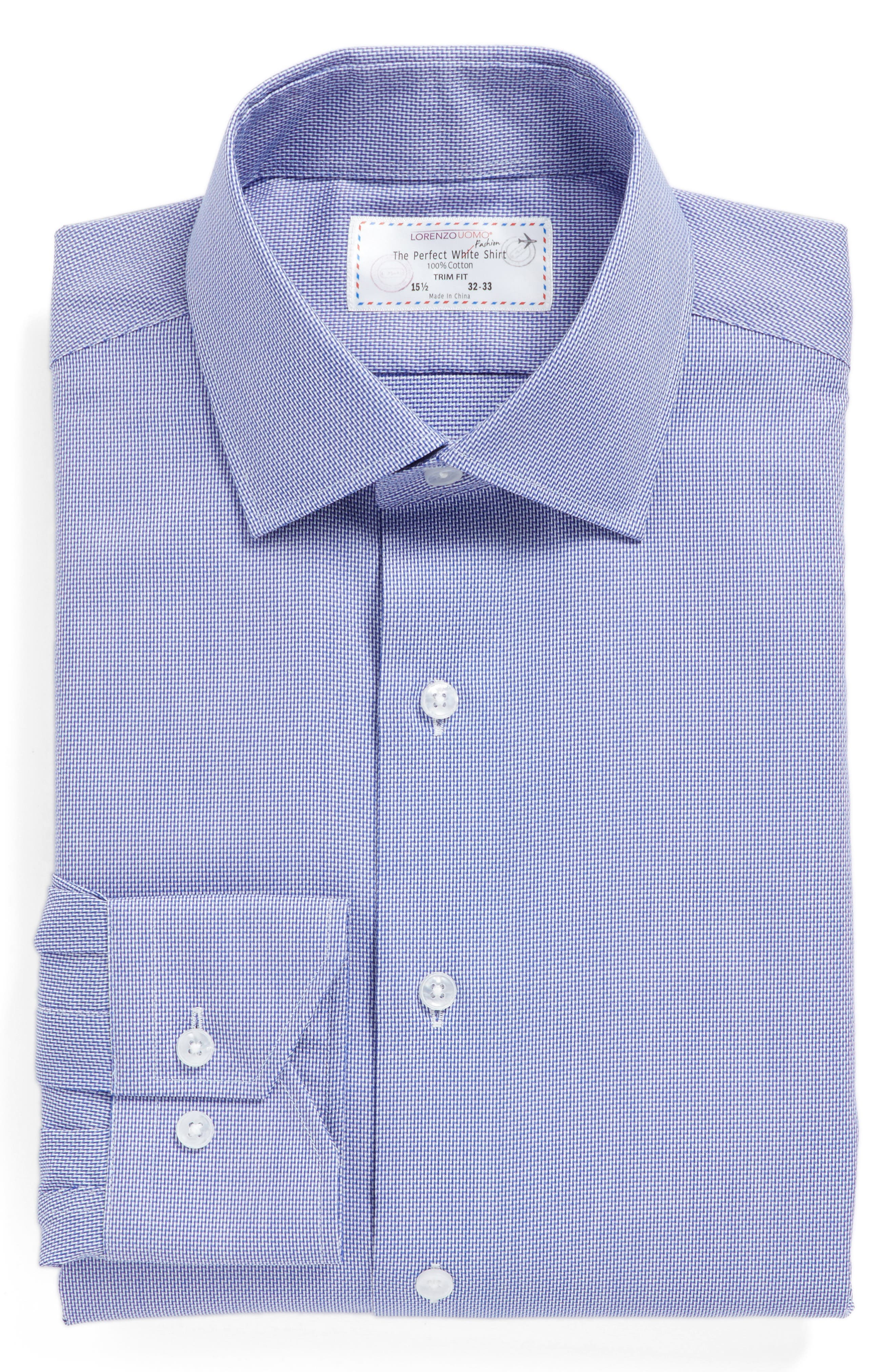 Trim Fit Solid Dress Shirt,                             Alternate thumbnail 4, color,                             Navy