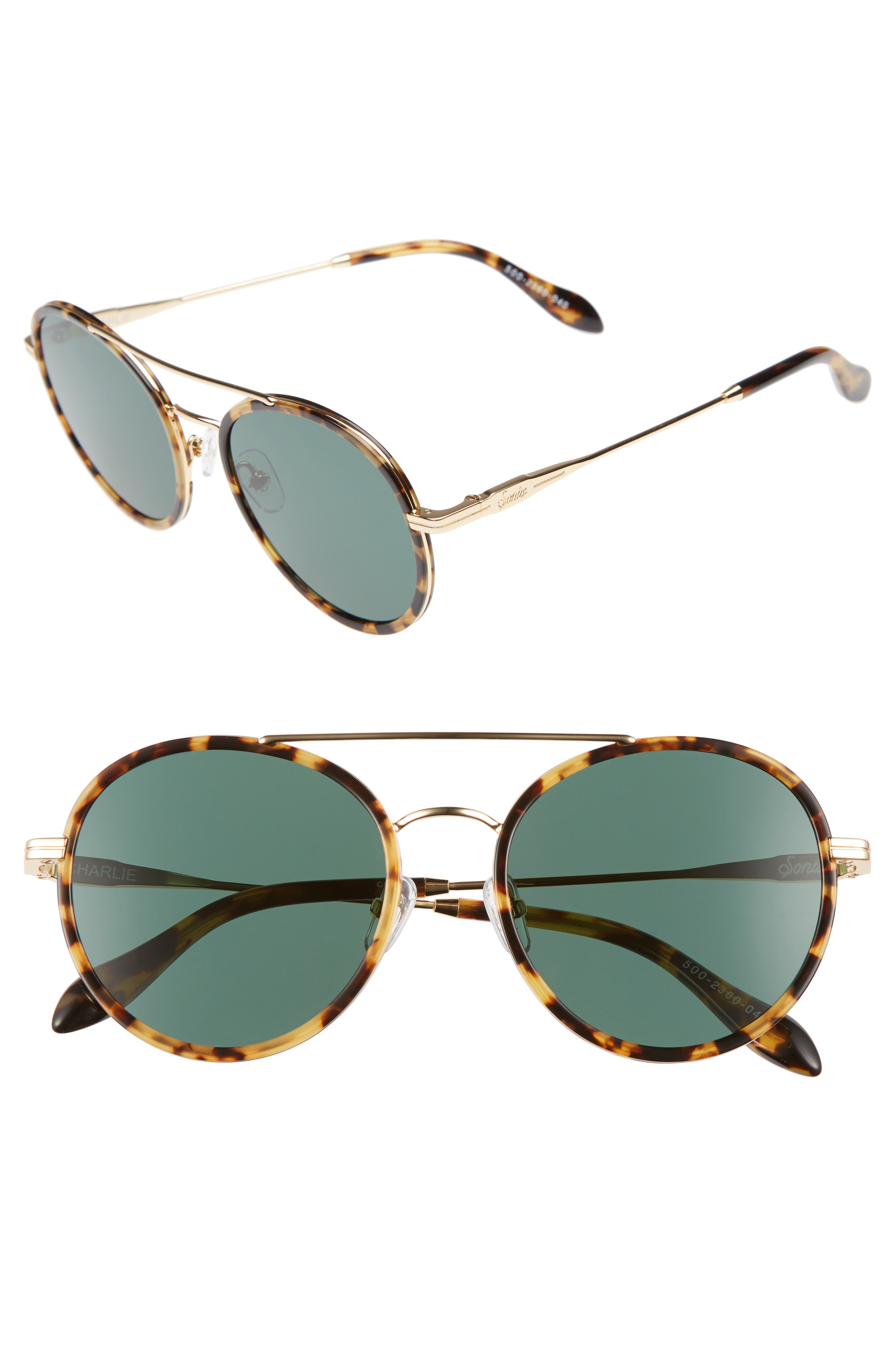 Charli 50mm Mirrored Lens Round Sunglasses,                         Main,                         color, Brown Tortoise/ Olive