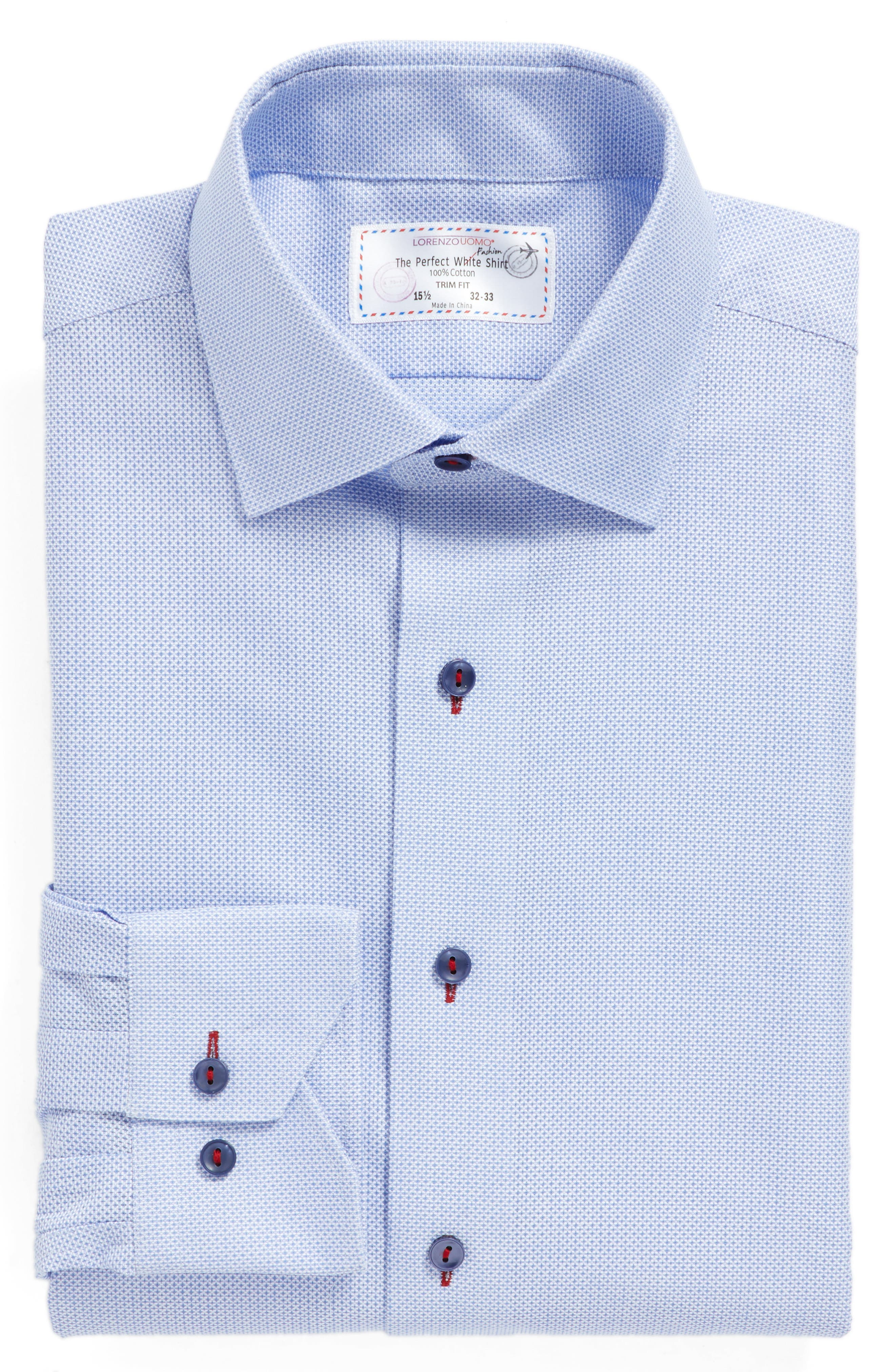 LORENZO UOMO Trim Fit Geometric Dress Shirt