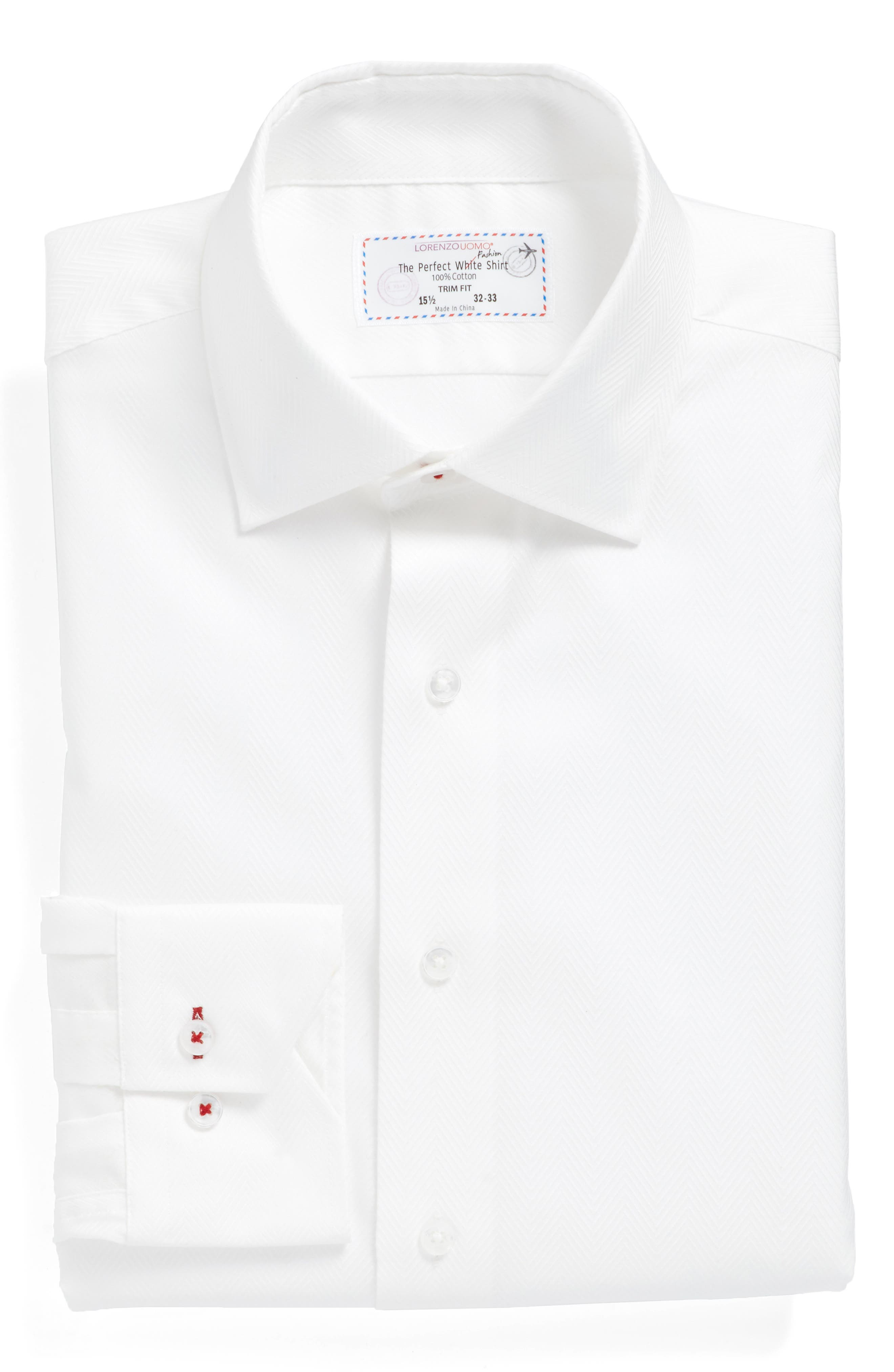 Trim Fit Herringbone Dress Shirt,                             Main thumbnail 1, color,                             White