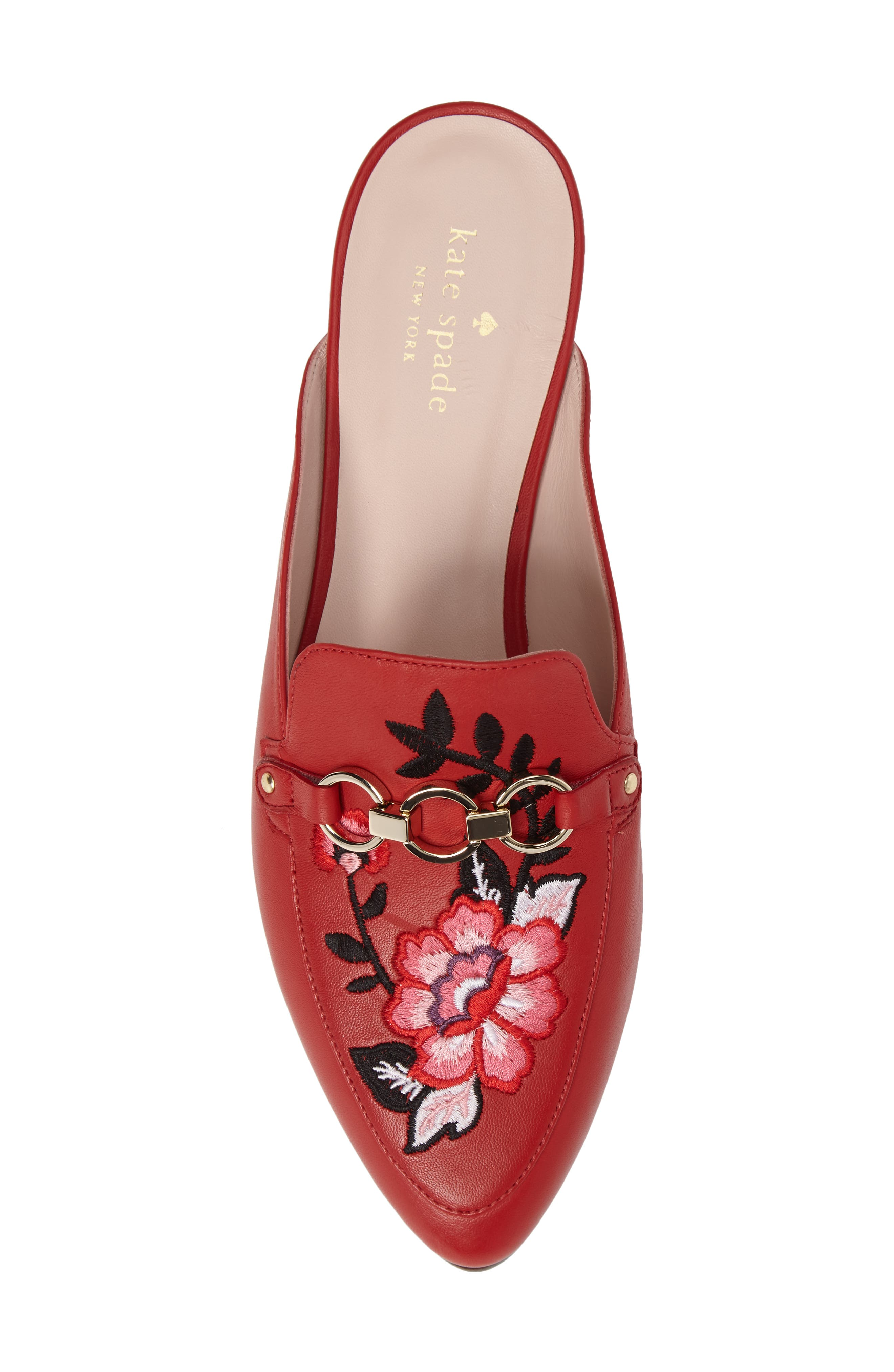canyon embroidered loafer mule,                             Alternate thumbnail 5, color,                             Maraschino Red Nappa