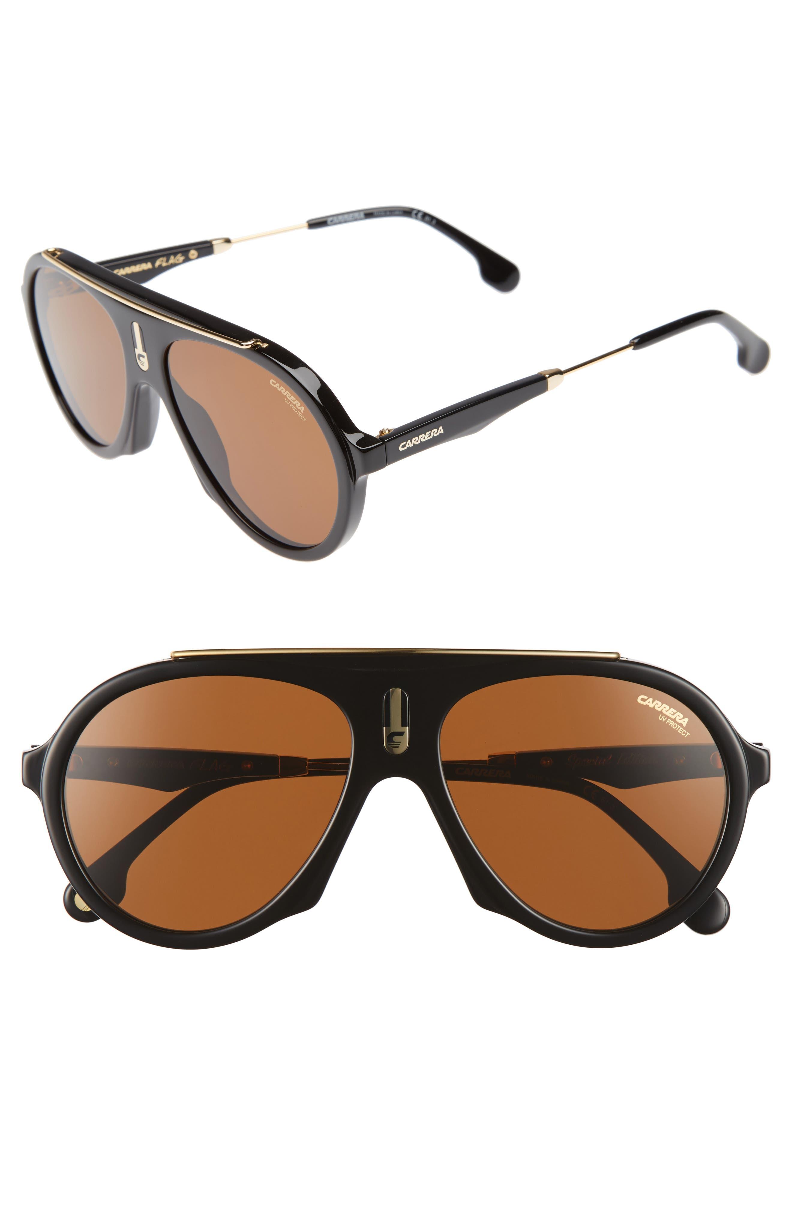 Flags 57mm Sunglasses,                             Main thumbnail 1, color,                             Black