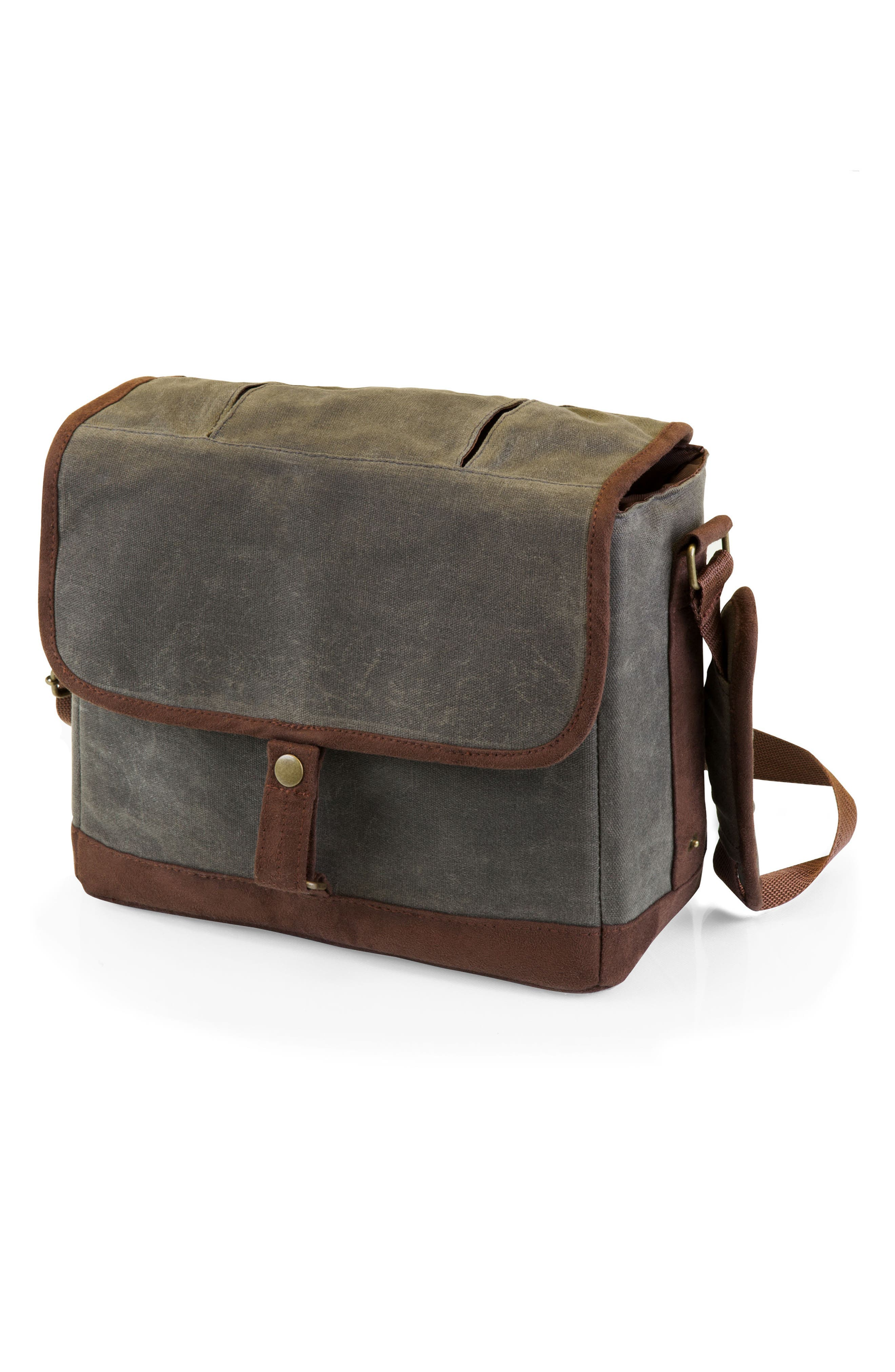 Insulated Double Growler Tote,                             Main thumbnail 1, color,                             Green/ Brown