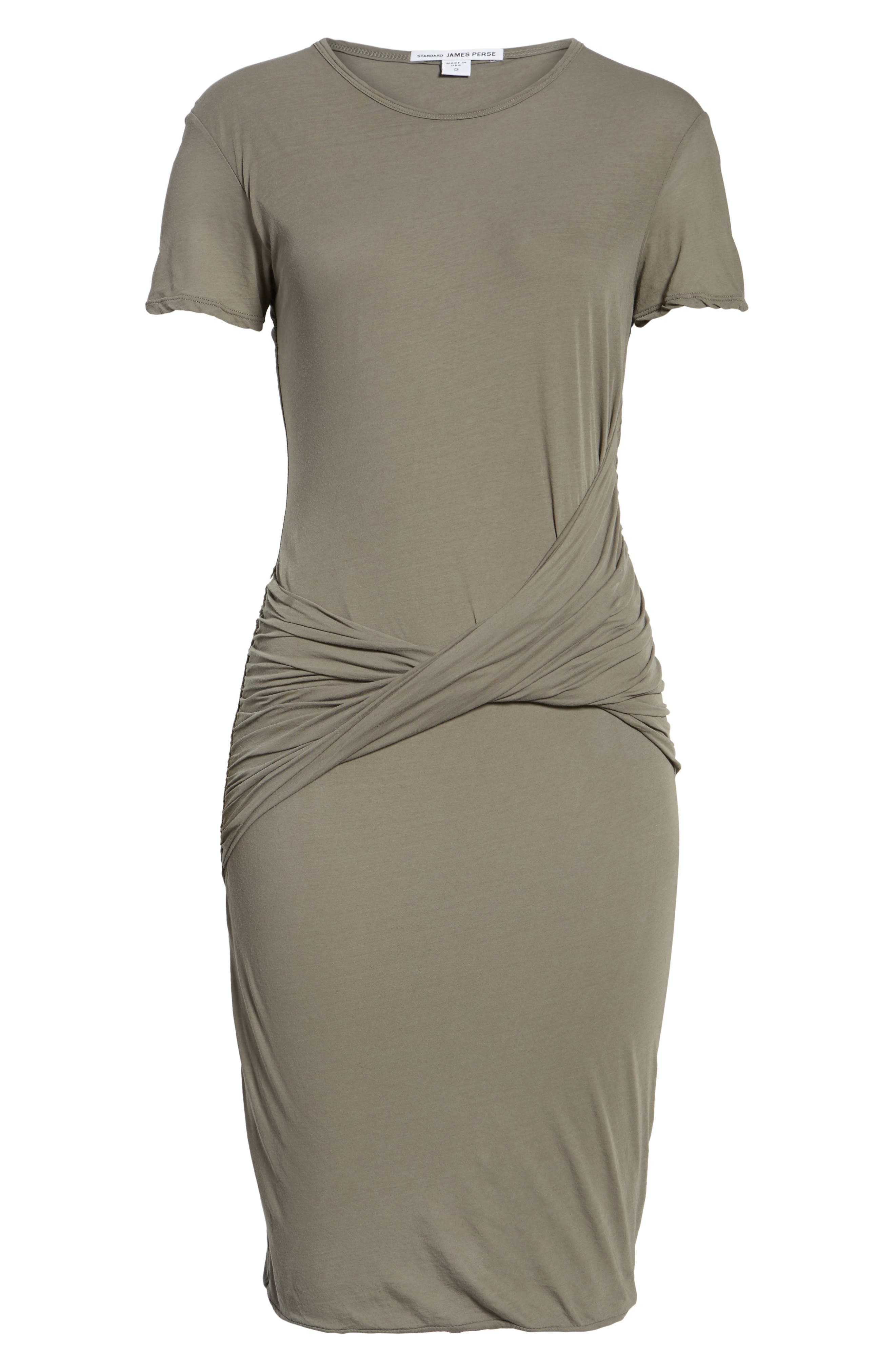 Twisted Drape T-Shirt Dress,                             Alternate thumbnail 6, color,                             Shale