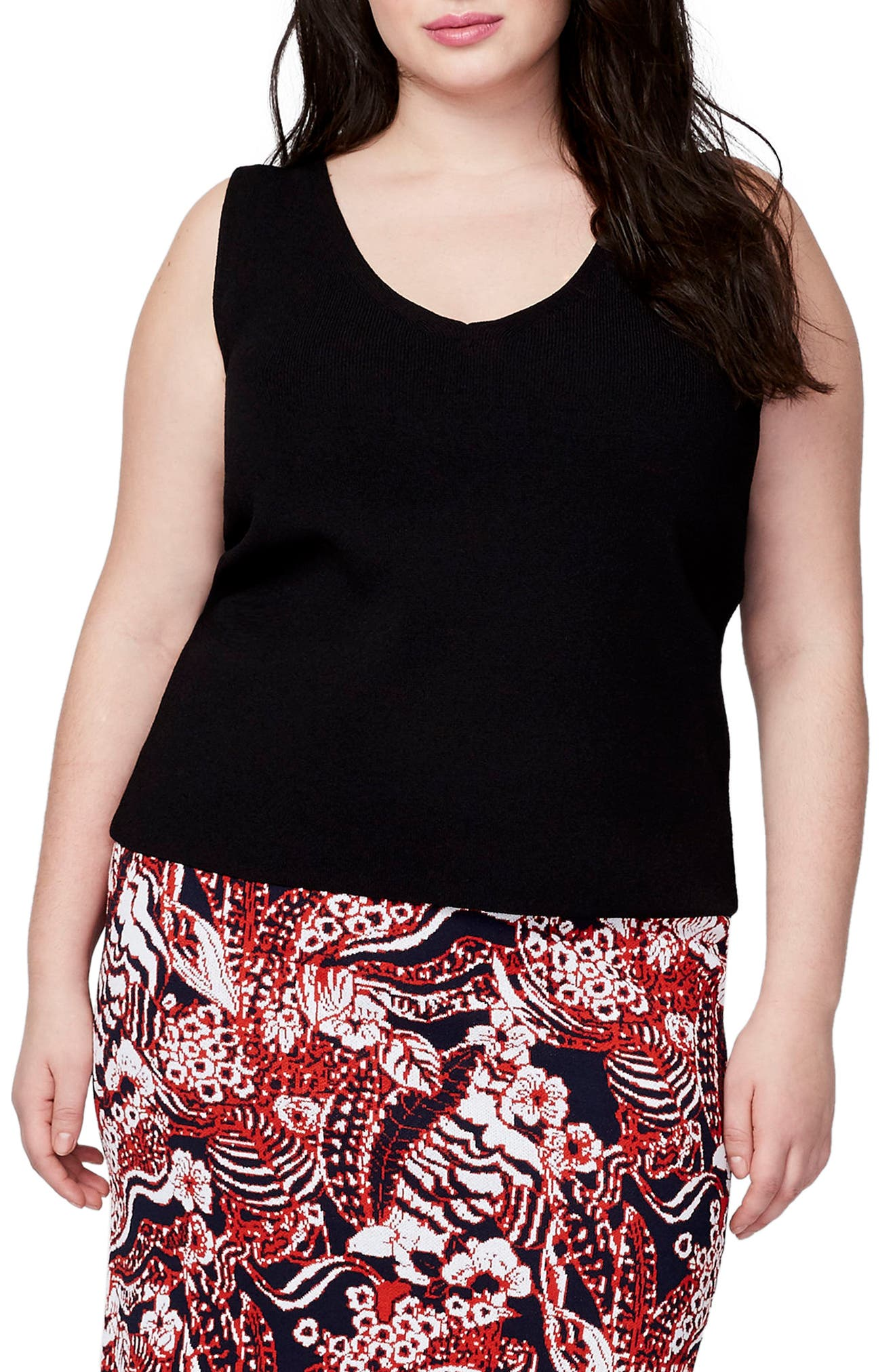 Alternate Image 1 Selected - RACHEL Rachel Roy V-Neck Knit Shell (Plus Size)
