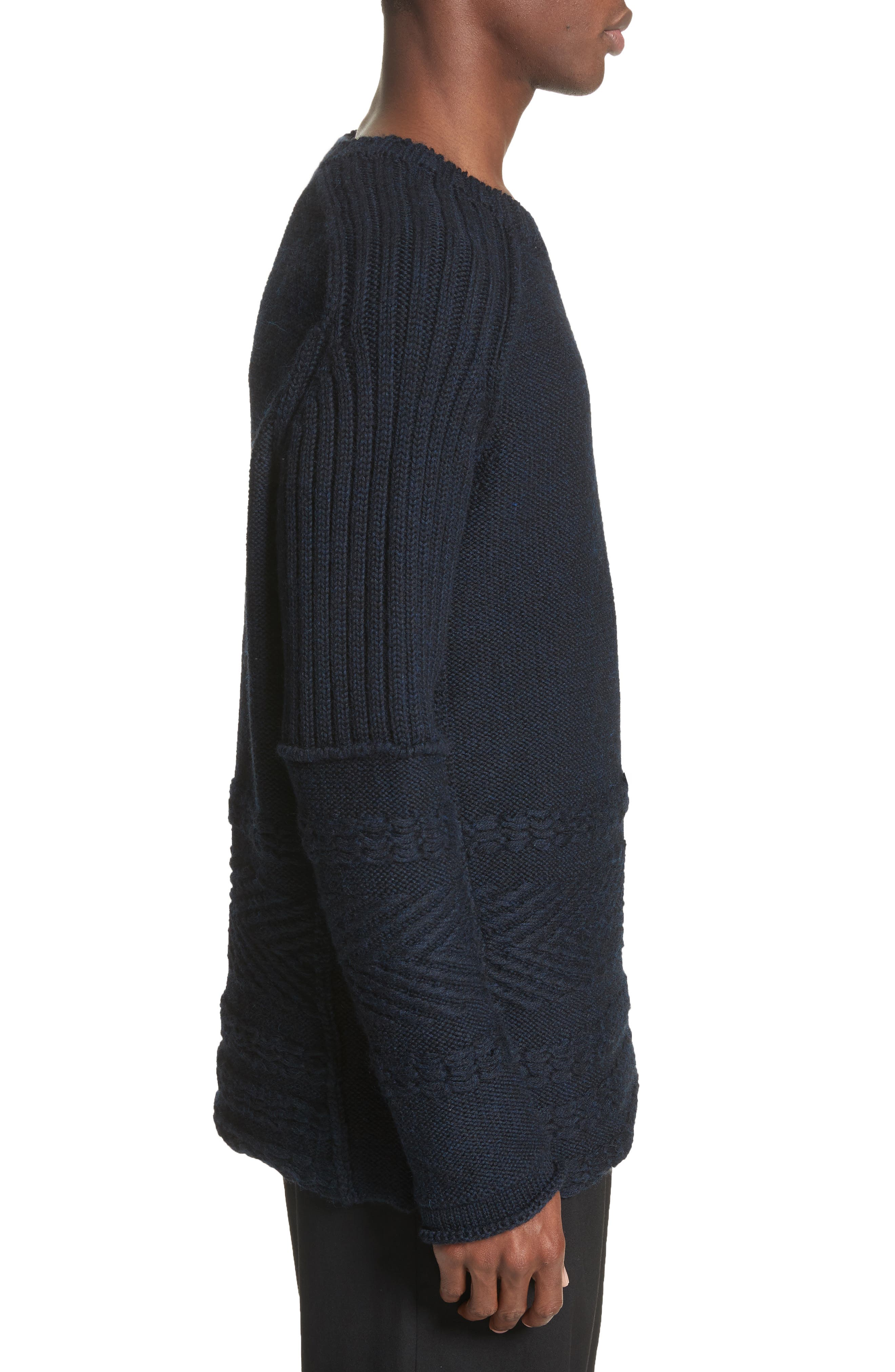 Mixed Knit Wool Sweater,                             Alternate thumbnail 3, color,                             Navy
