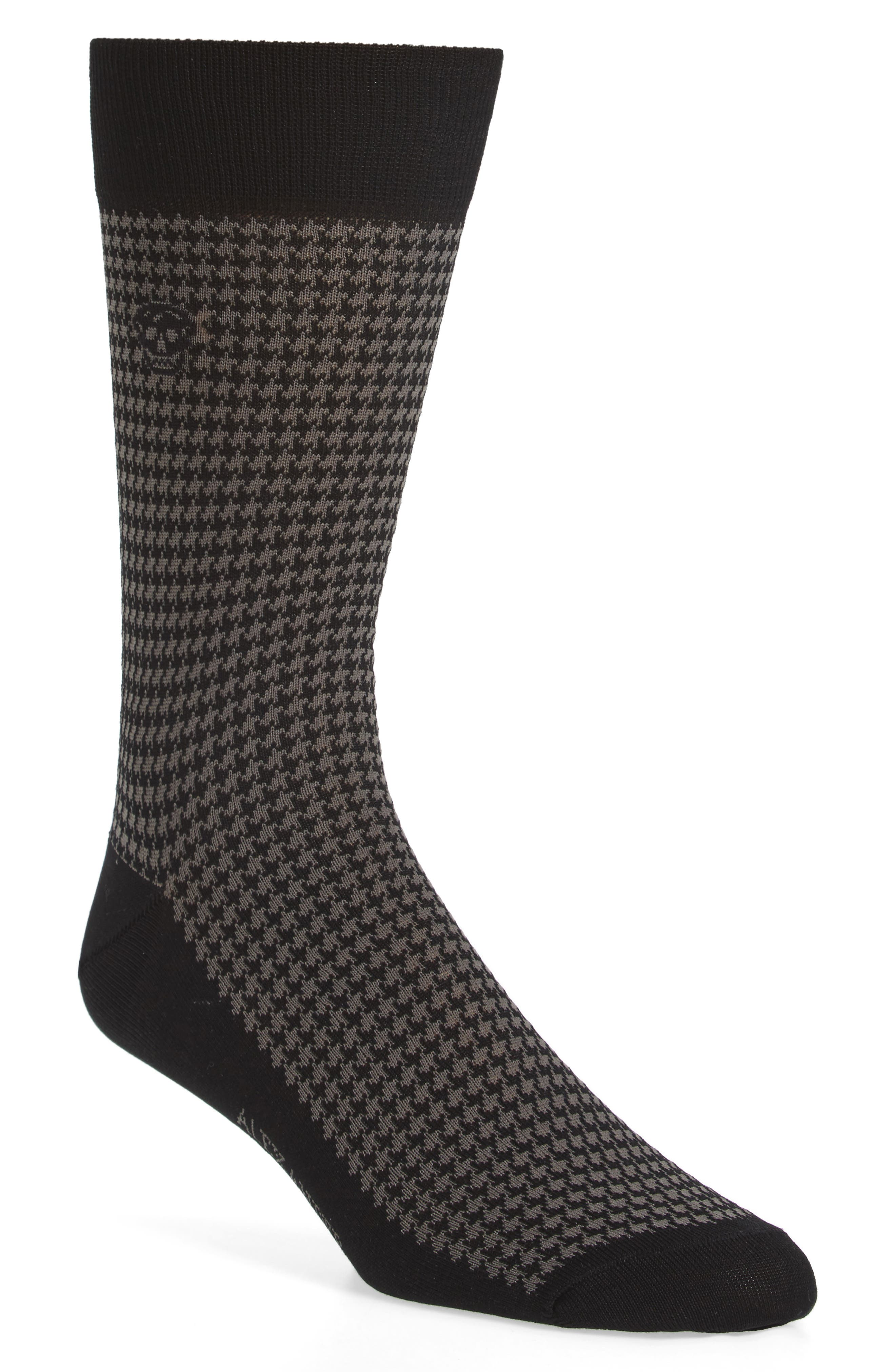Cotton Blend Houndstooth Socks,                             Main thumbnail 1, color,                             Black/ Dark Grey