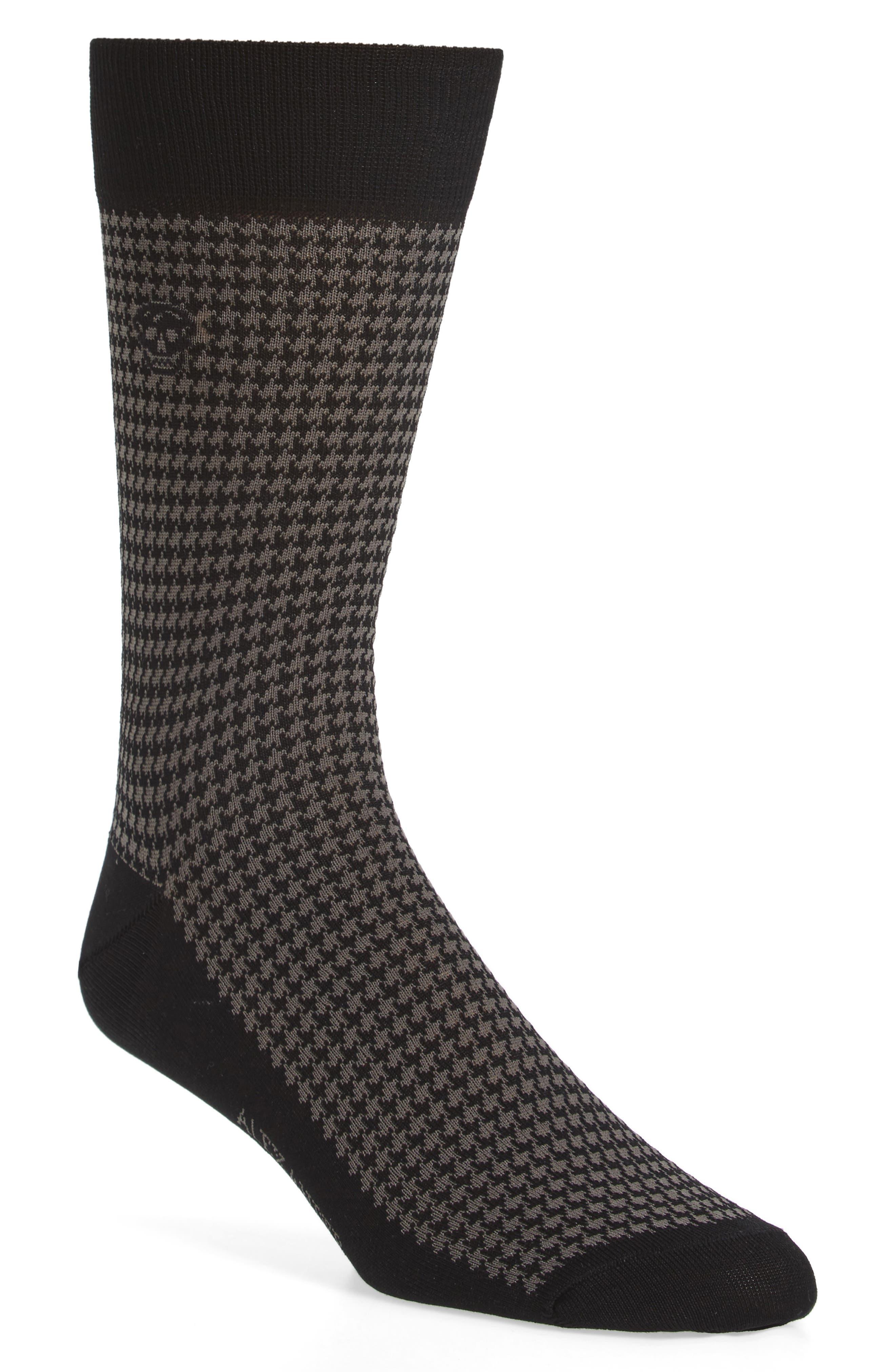 Cotton Blend Houndstooth Socks,                         Main,                         color, Black/ Dark Grey