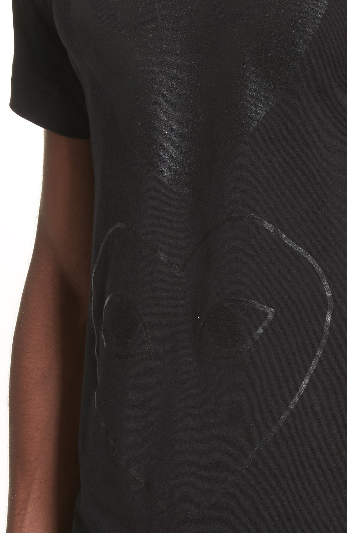 Comme des Garçons PLAY Graphic T-Shirt,                             Alternate thumbnail 4, color,                             Black