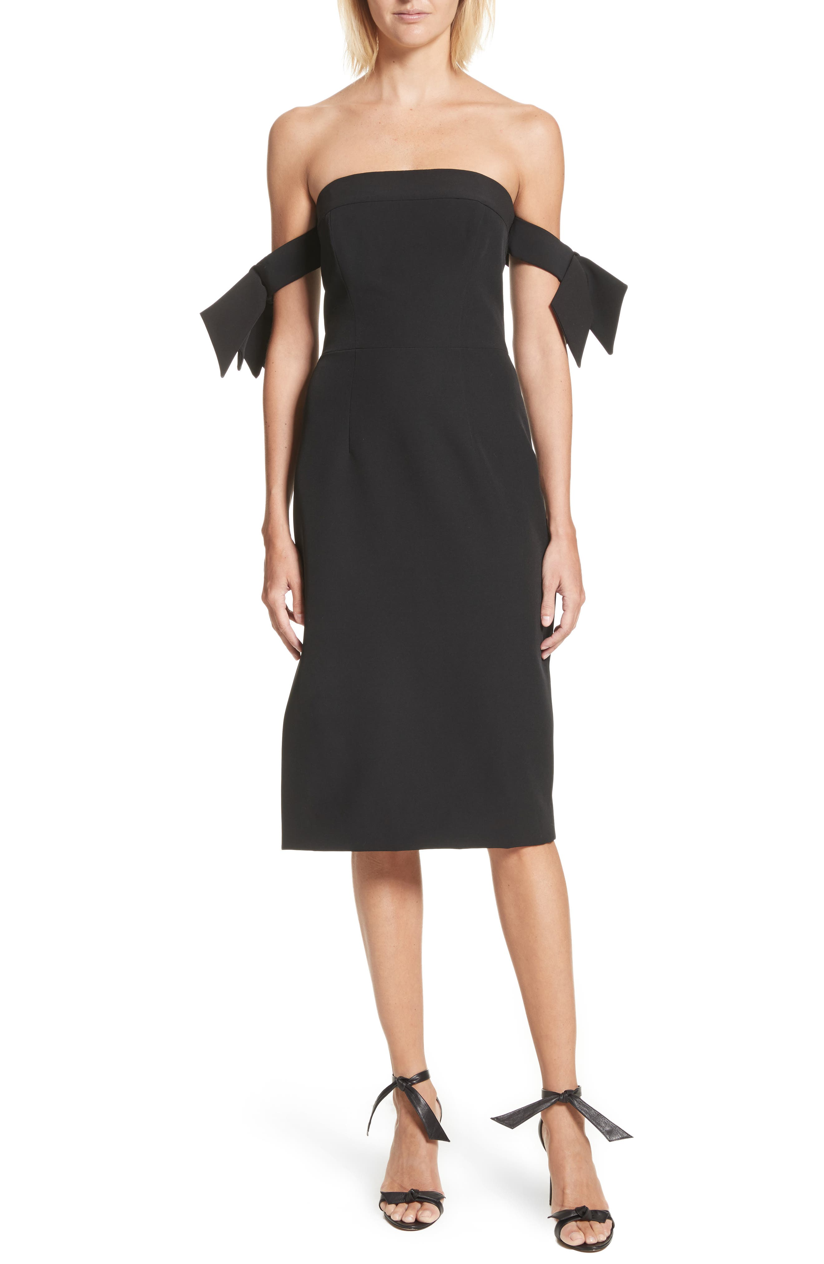 Brit Off the Shoulder Stretch Cady Sheath Dress,                         Main,                         color, Black
