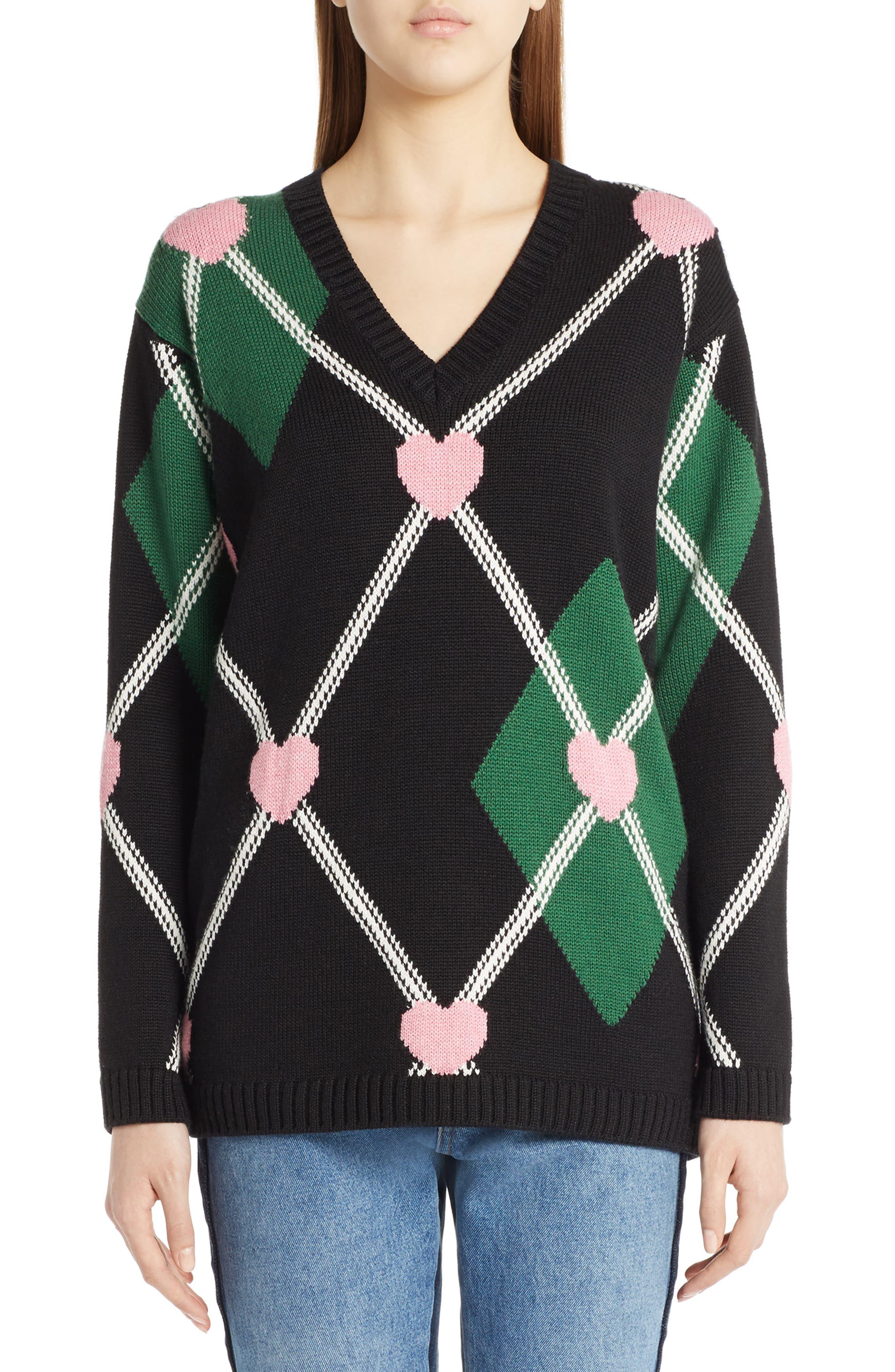 Argyle Heart Sweater,                         Main,                         color, Black