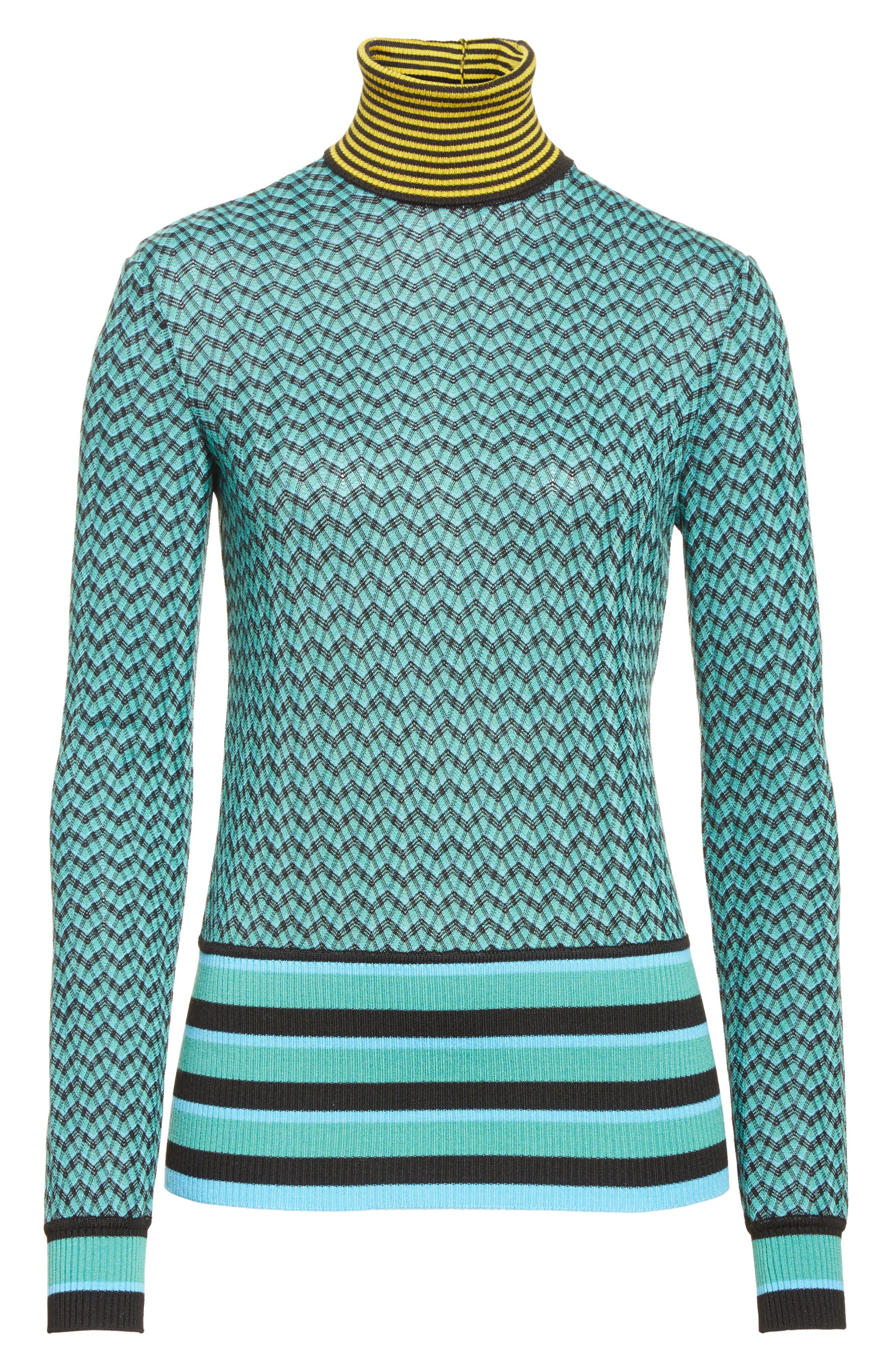 Zigzag & Stripe Mock Neck Sweater,                             Alternate thumbnail 6, color,                             Green/ Blue