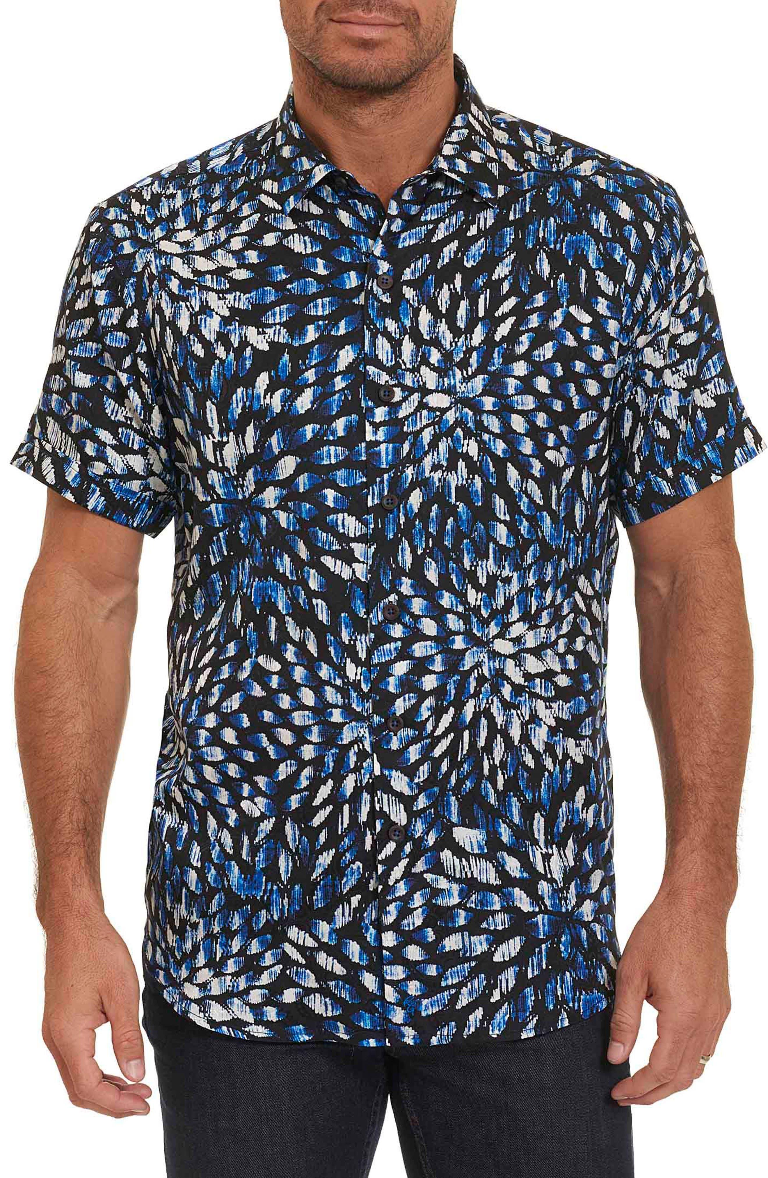 Pebble Beach Print Short Sleeve Sport Shirt,                         Main,                         color, Navy