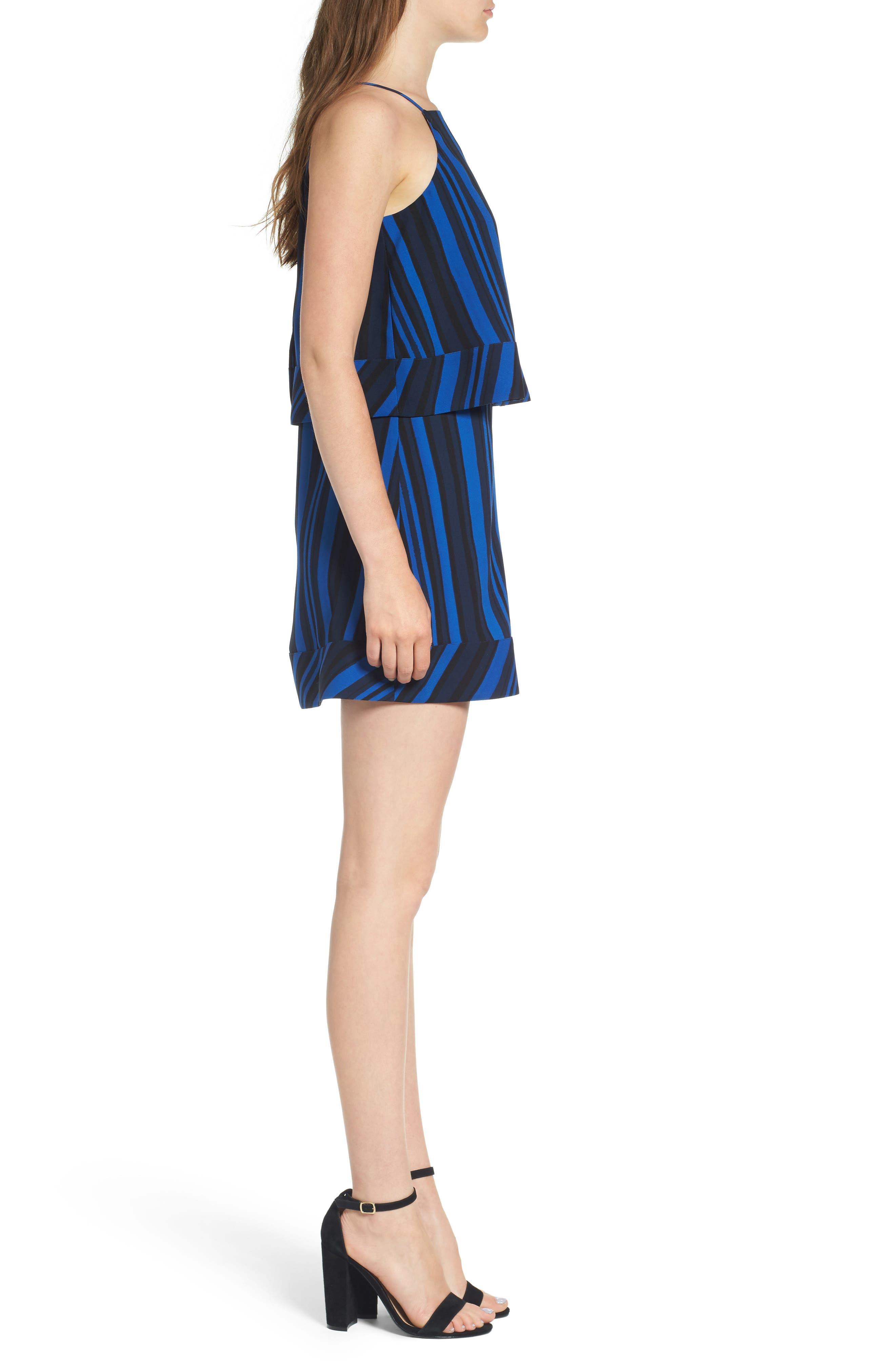 Callie Tiered Shift Dress,                             Alternate thumbnail 3, color,                             Blue Stripe Print