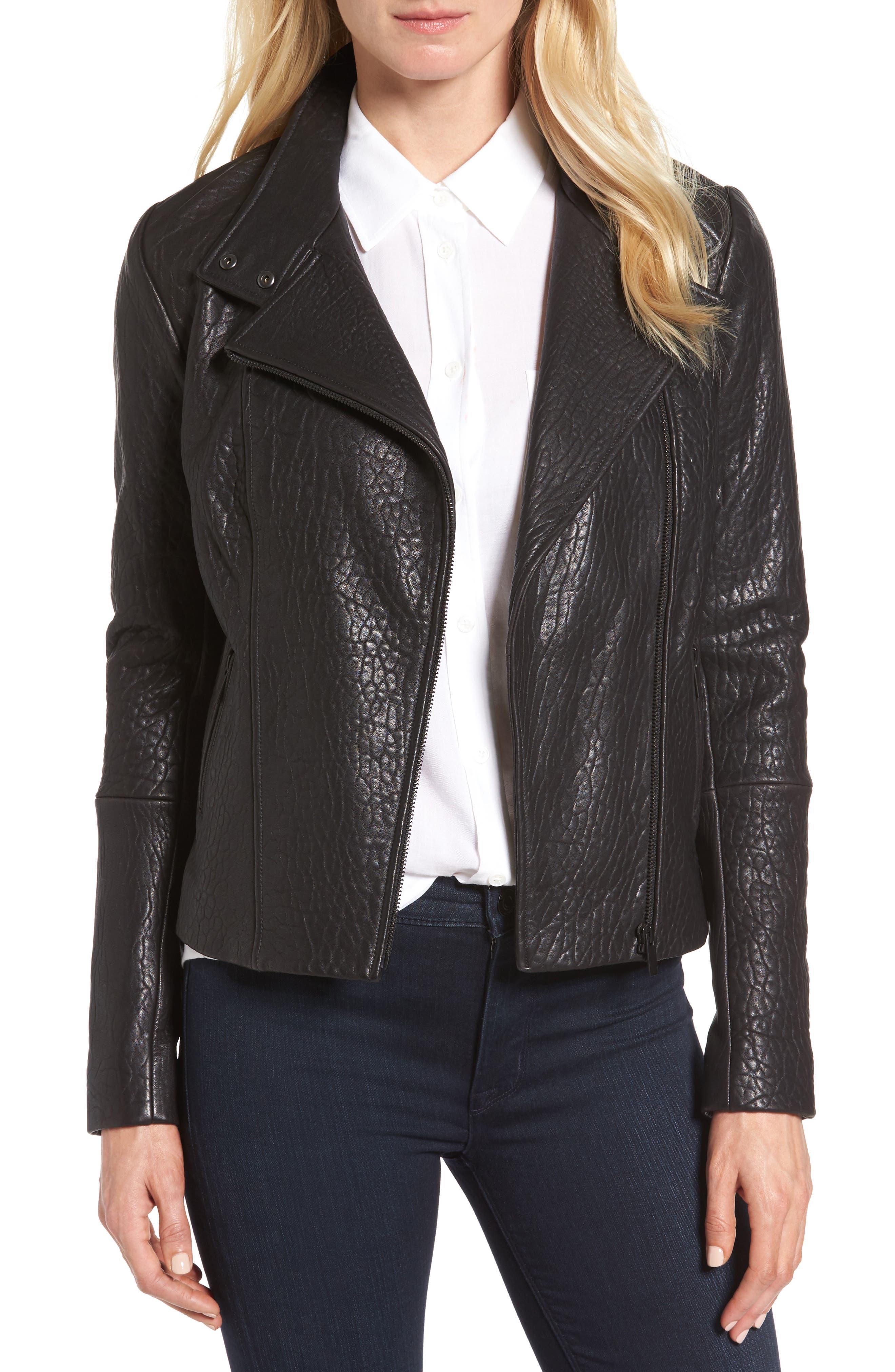 Main Image - Halogen® Leather Jacket (Regular & Petite)