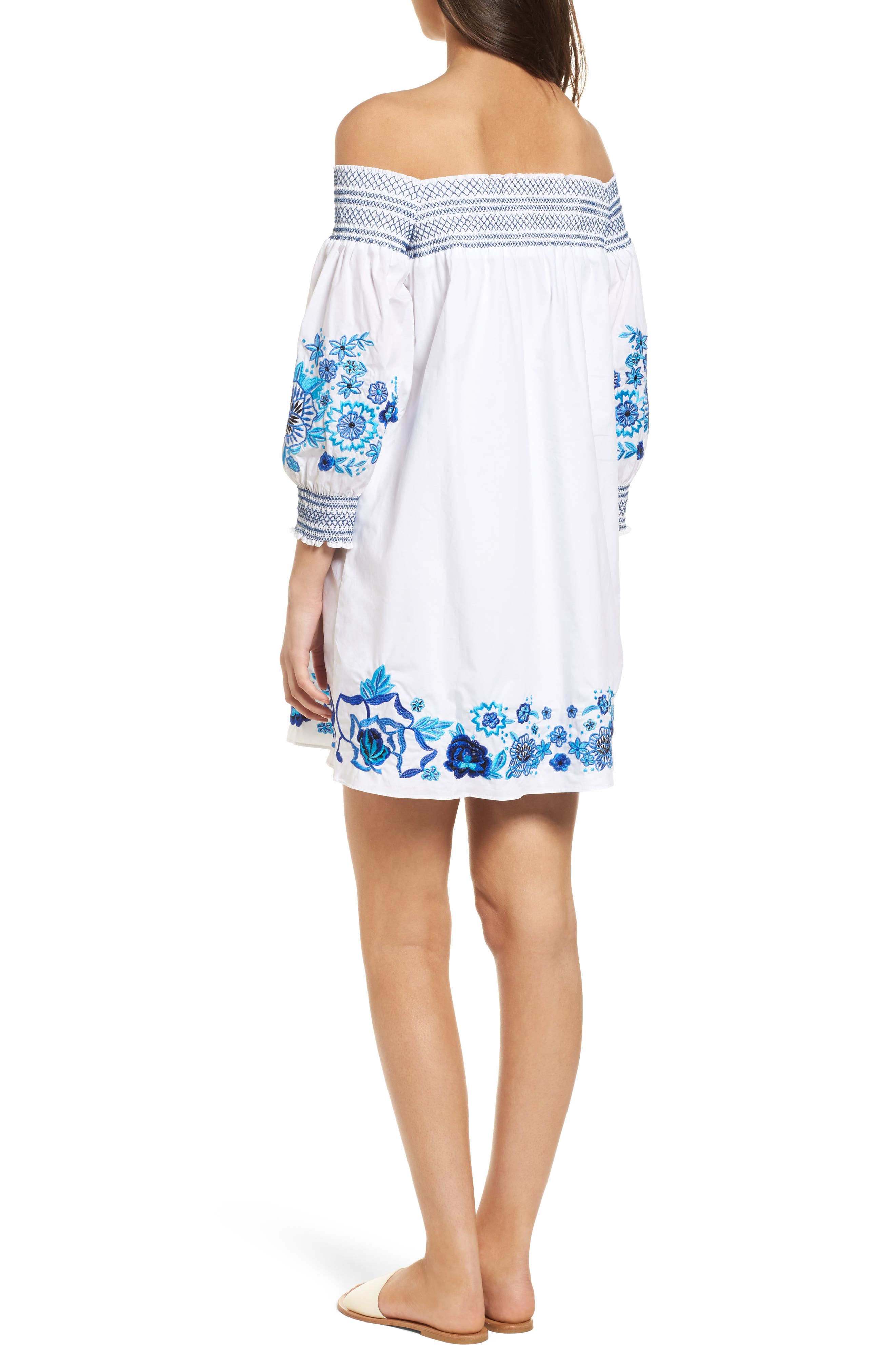 Jace Embroidered Off the Shoulder Shift Dress,                             Alternate thumbnail 2, color,                             White