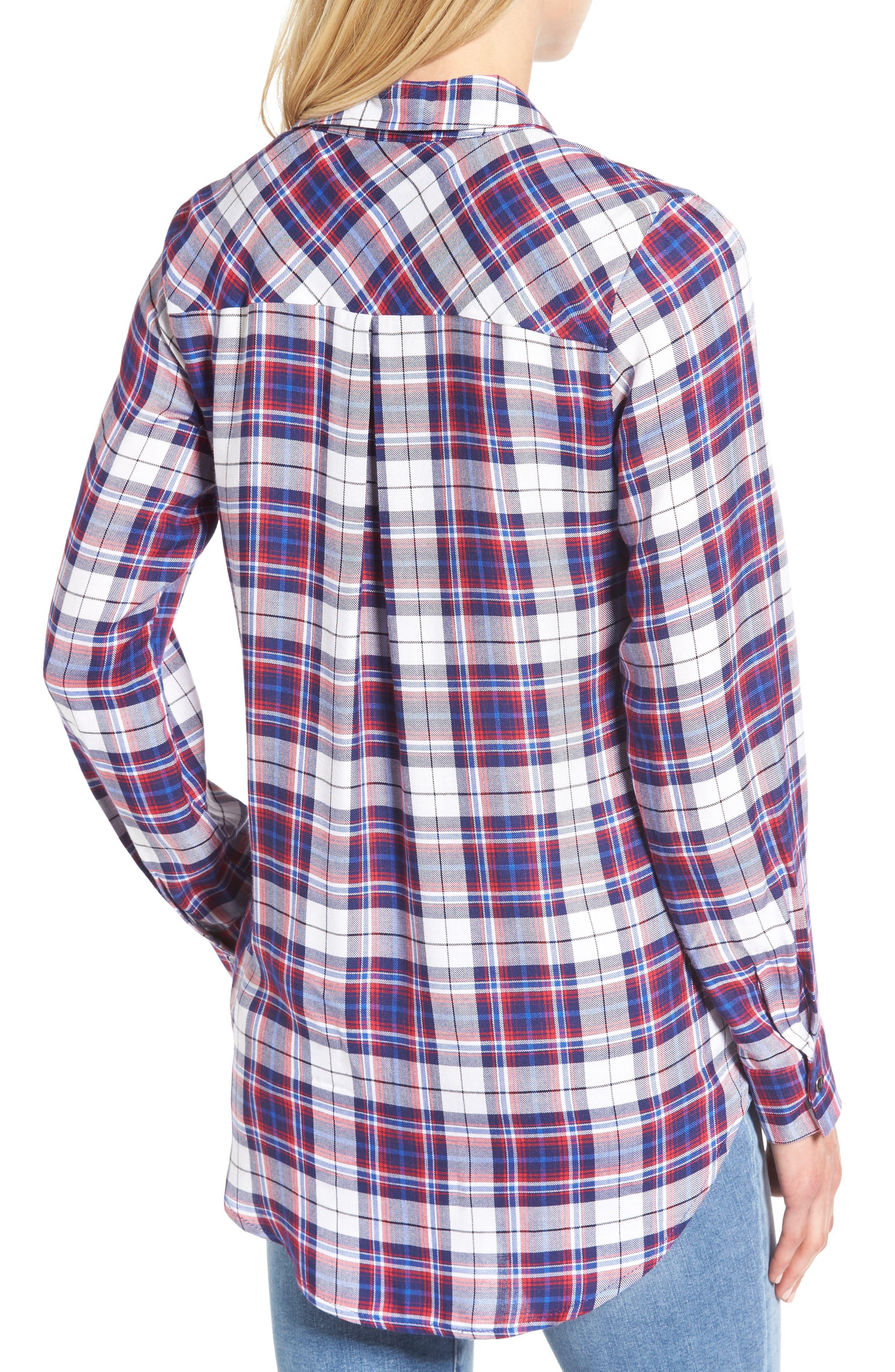 Tie Front Plaid Shirt,                             Alternate thumbnail 2, color,                             Burgundy/ Black Plaid