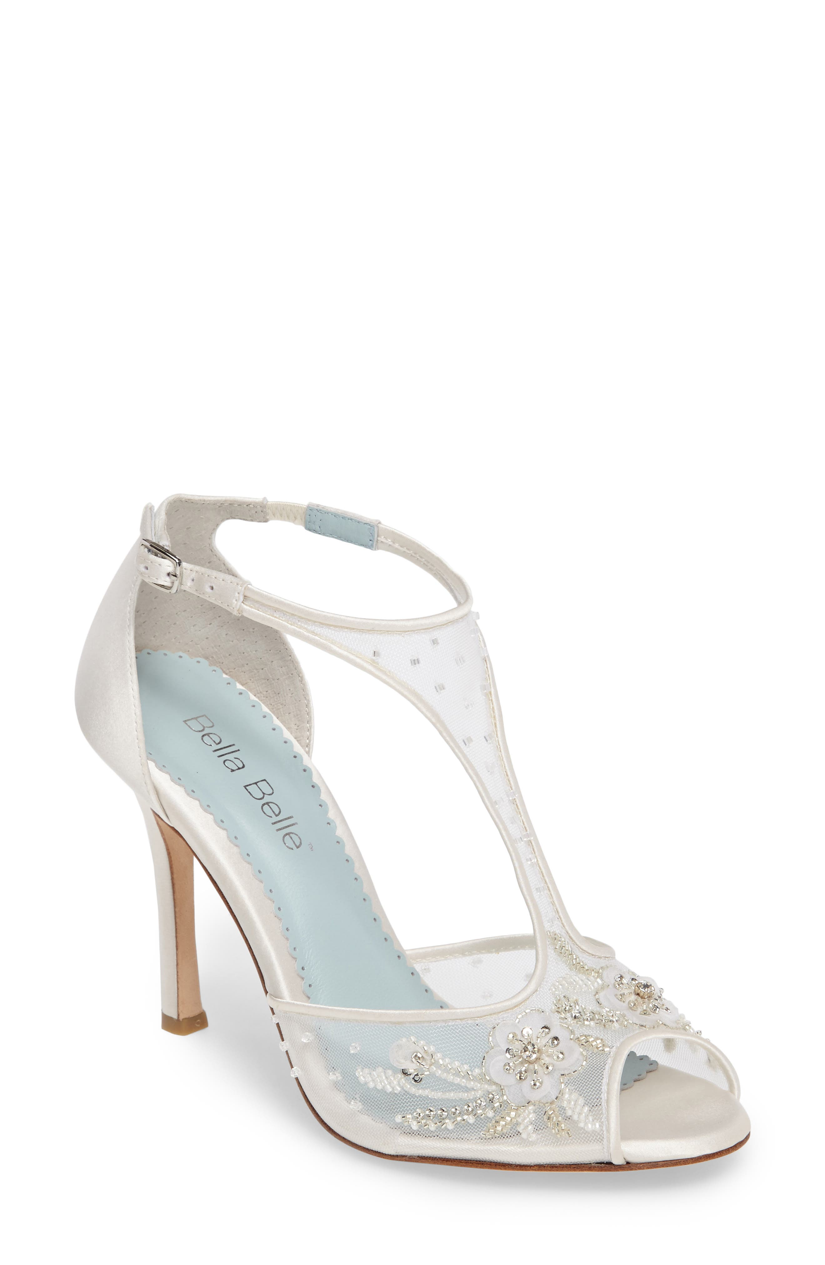 Paloma T-Strap Pump,                         Main,                         color, Ivory Fabric