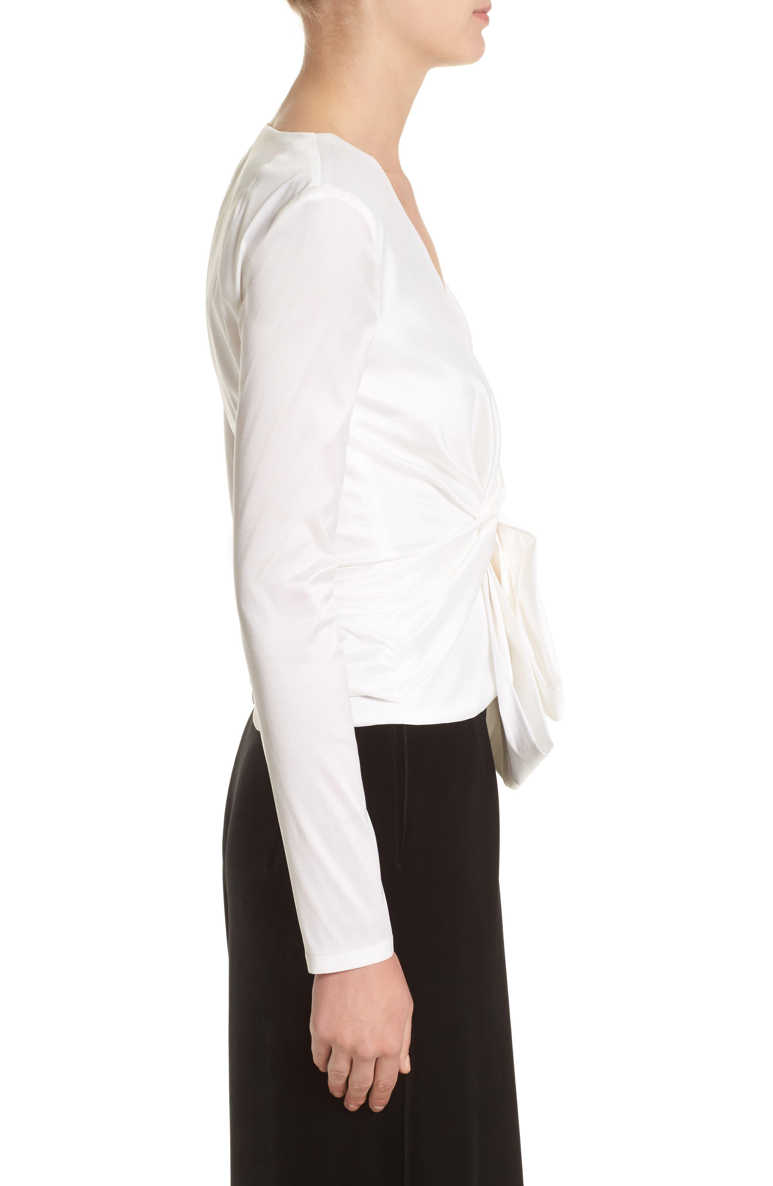 V-Neck Blouse with Bow Detail,                             Alternate thumbnail 3, color,                             White
