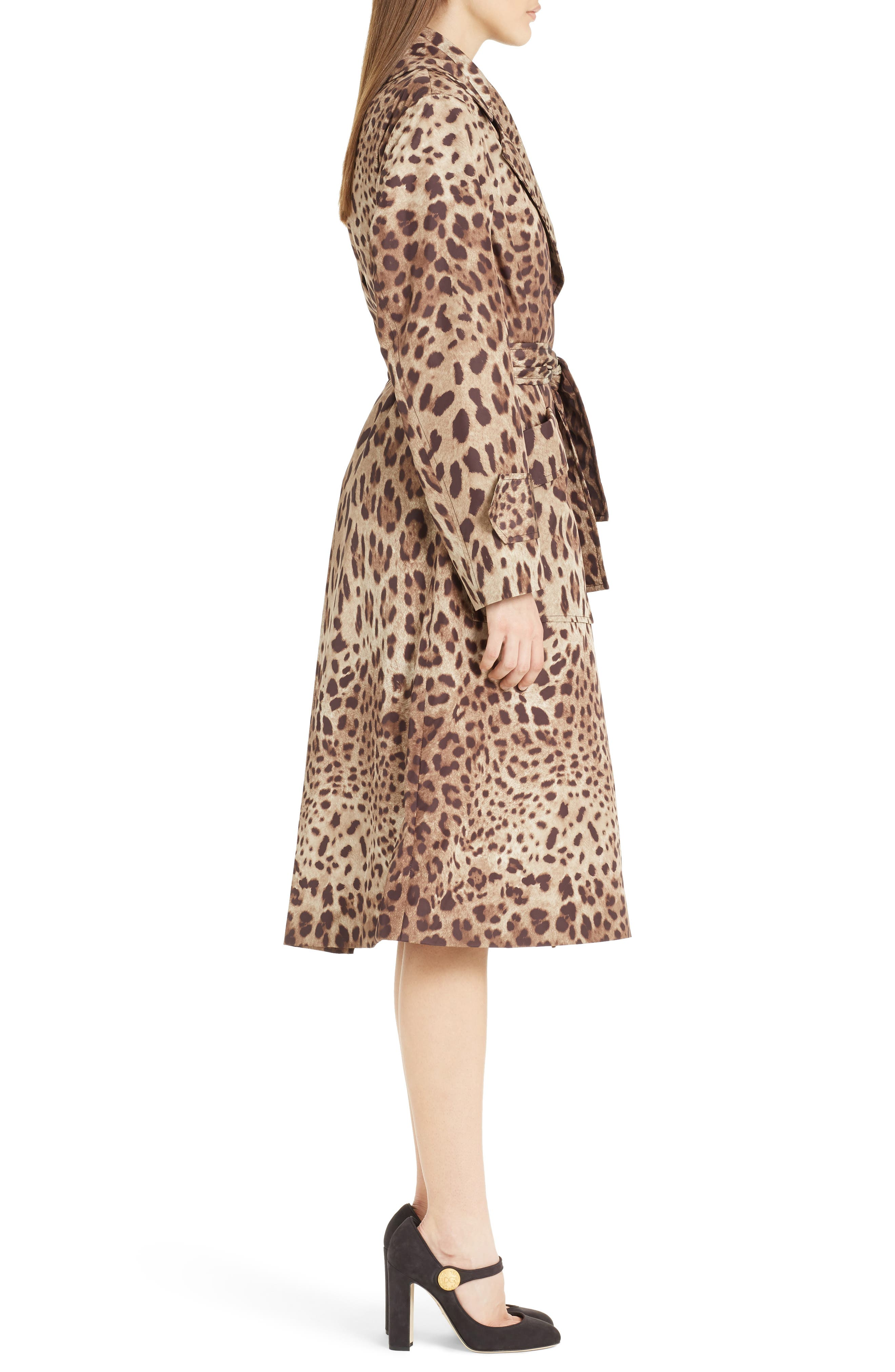 Leopard Print Trench Coat,                             Alternate thumbnail 4, color,                             Leopard
