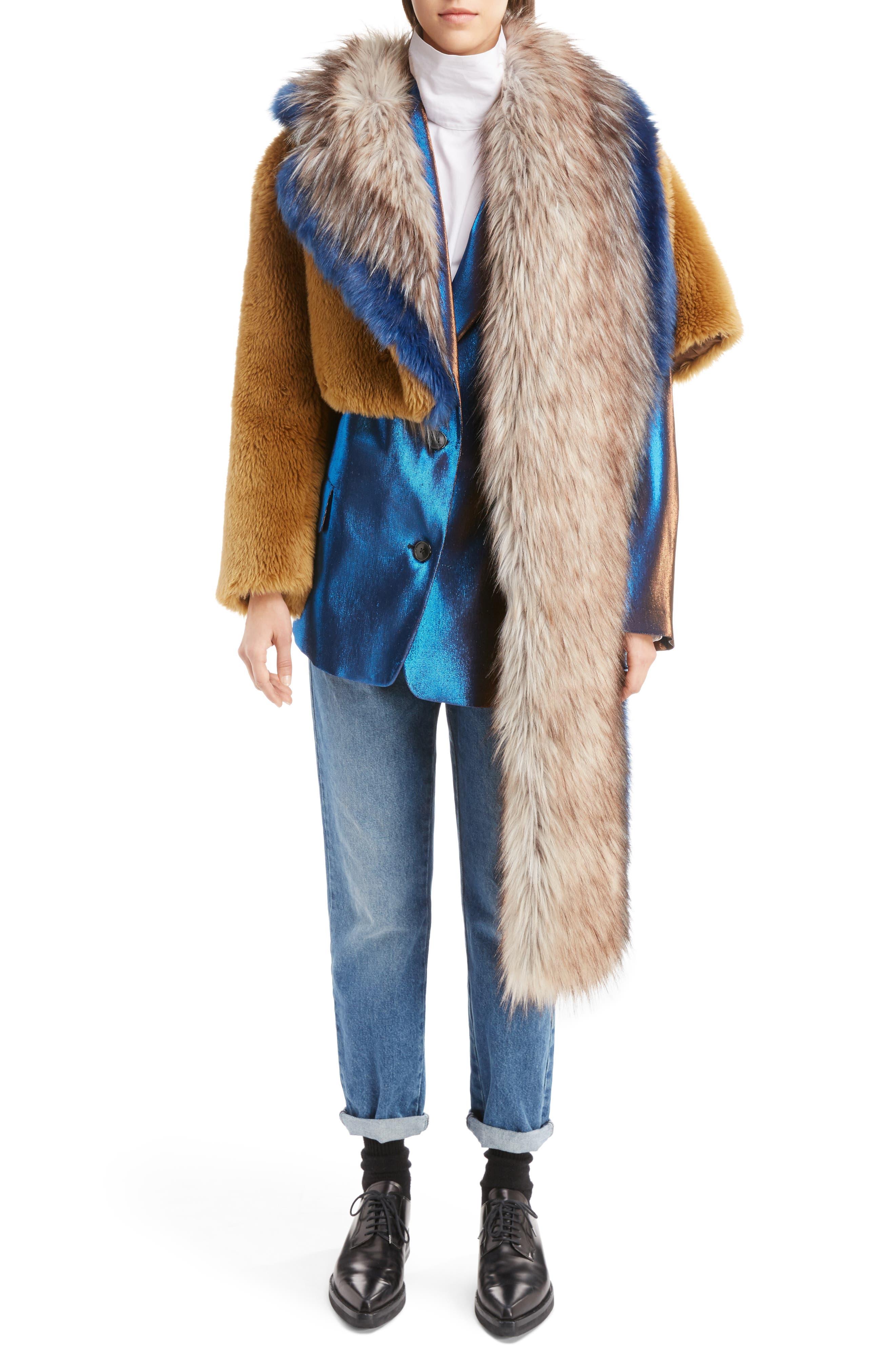 Faux Fur Asymmetrical Shrug,                             Alternate thumbnail 7, color,                             Camel