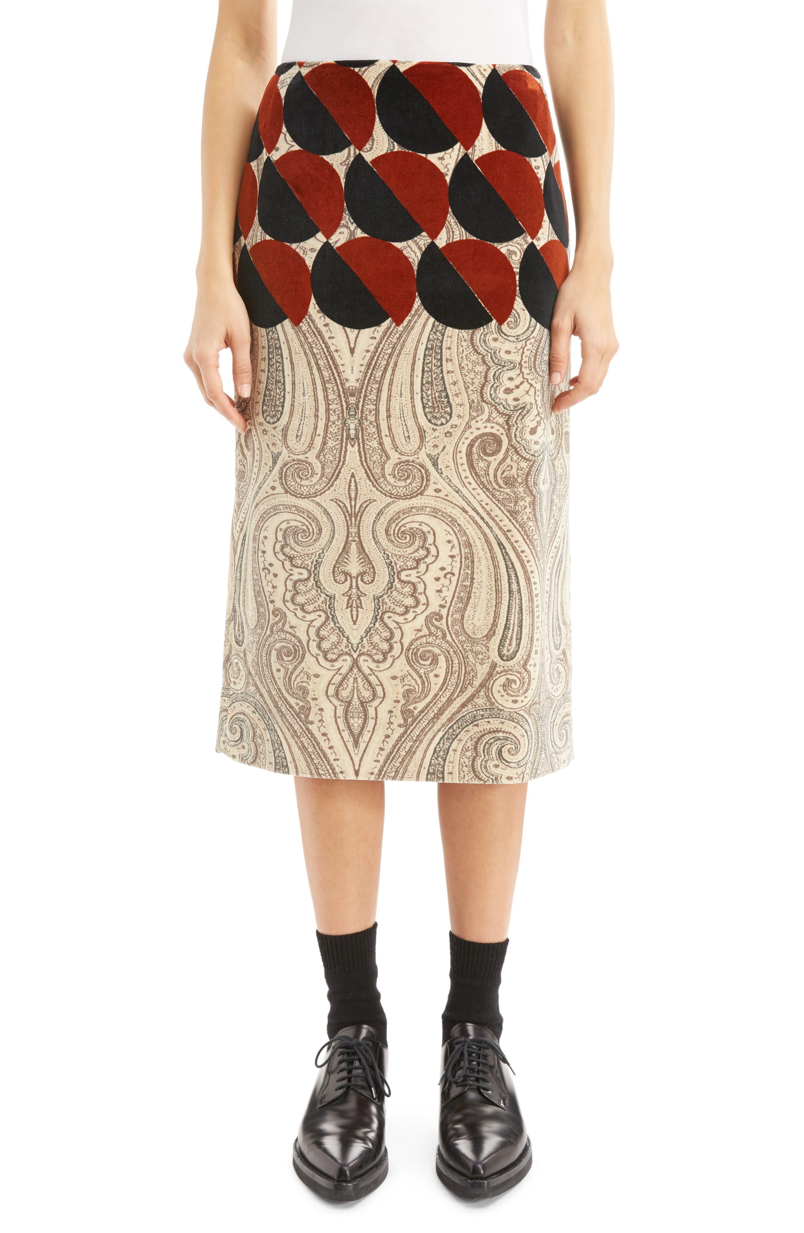Dries Van Noten Mix Print Velvet Pencil Skirt