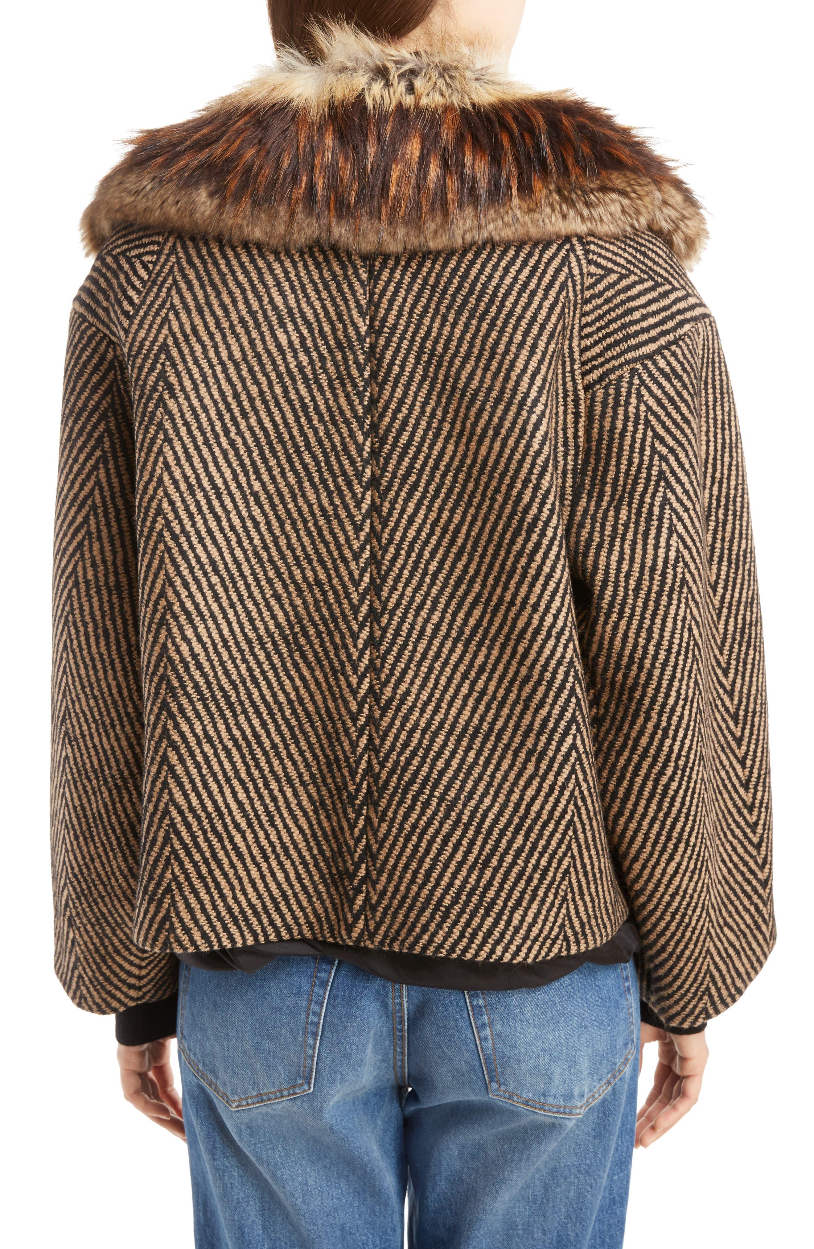 Faux Fur Collar Herringbone Coat,                             Alternate thumbnail 2, color,                             Camel