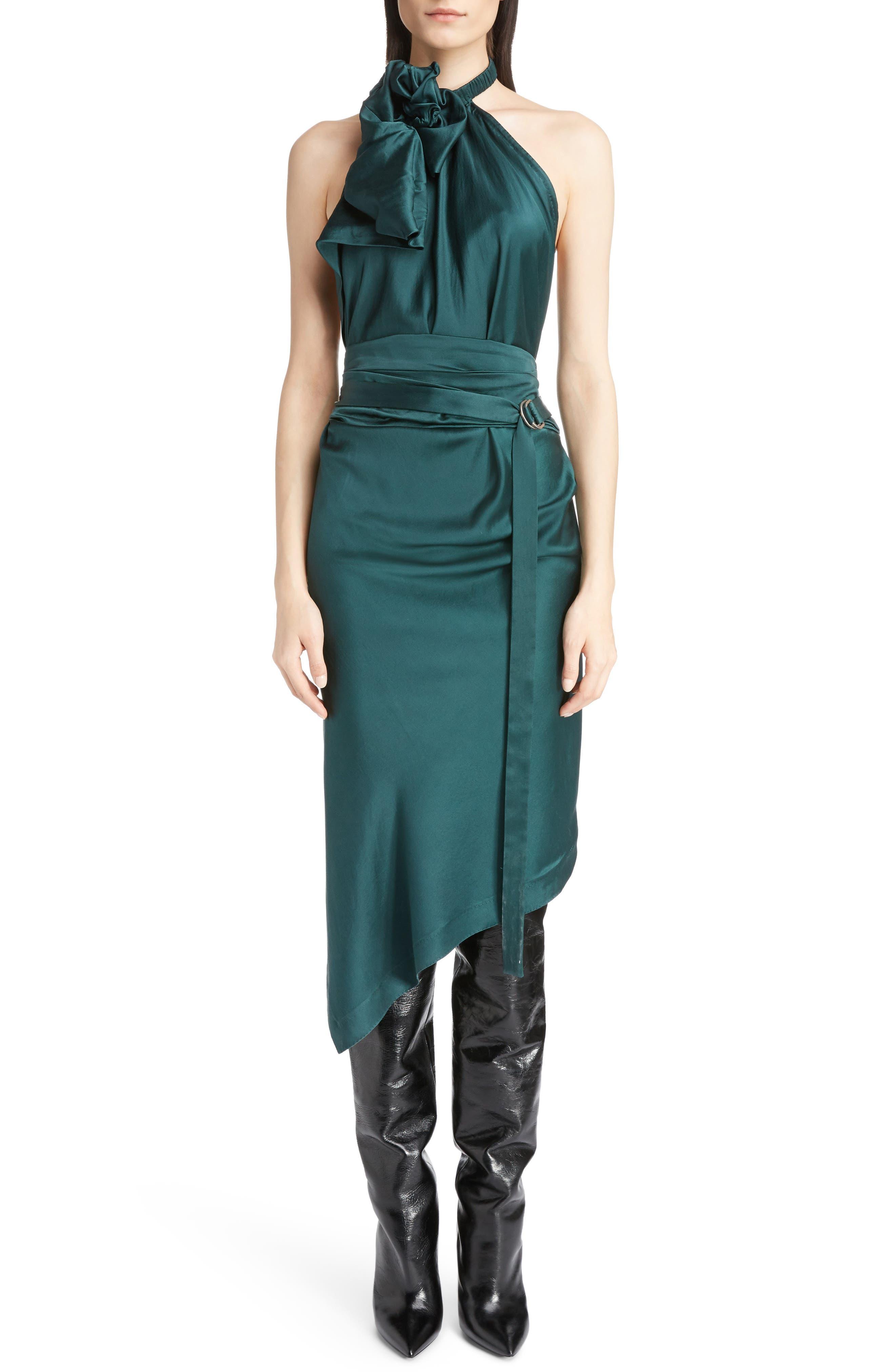 Satin Halter Dress,                         Main,                         color, Emerald