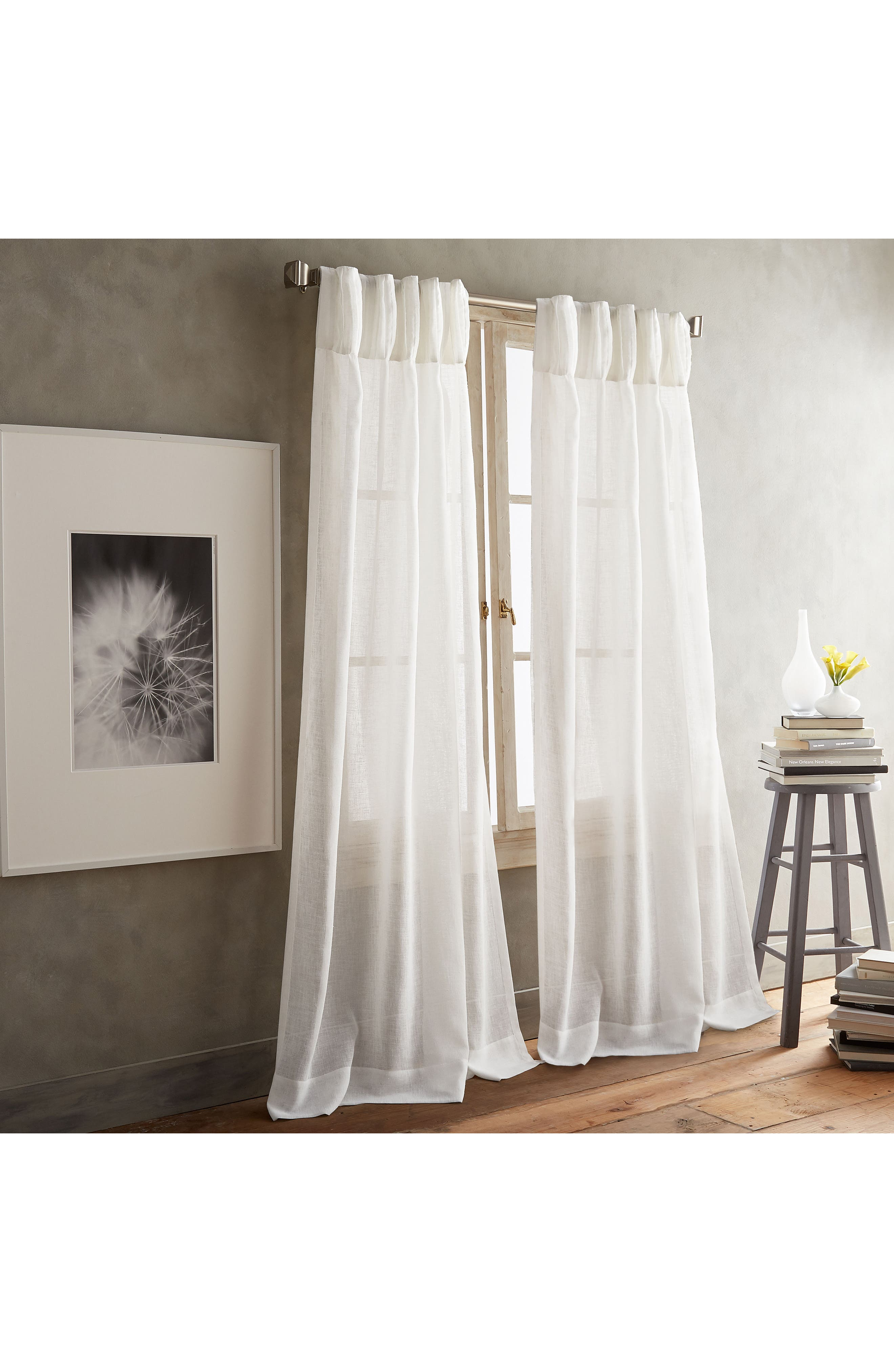 Paradox Inverted Pleat Back Tab Set of 2 Window Panels,                         Main,                         color, Winter White