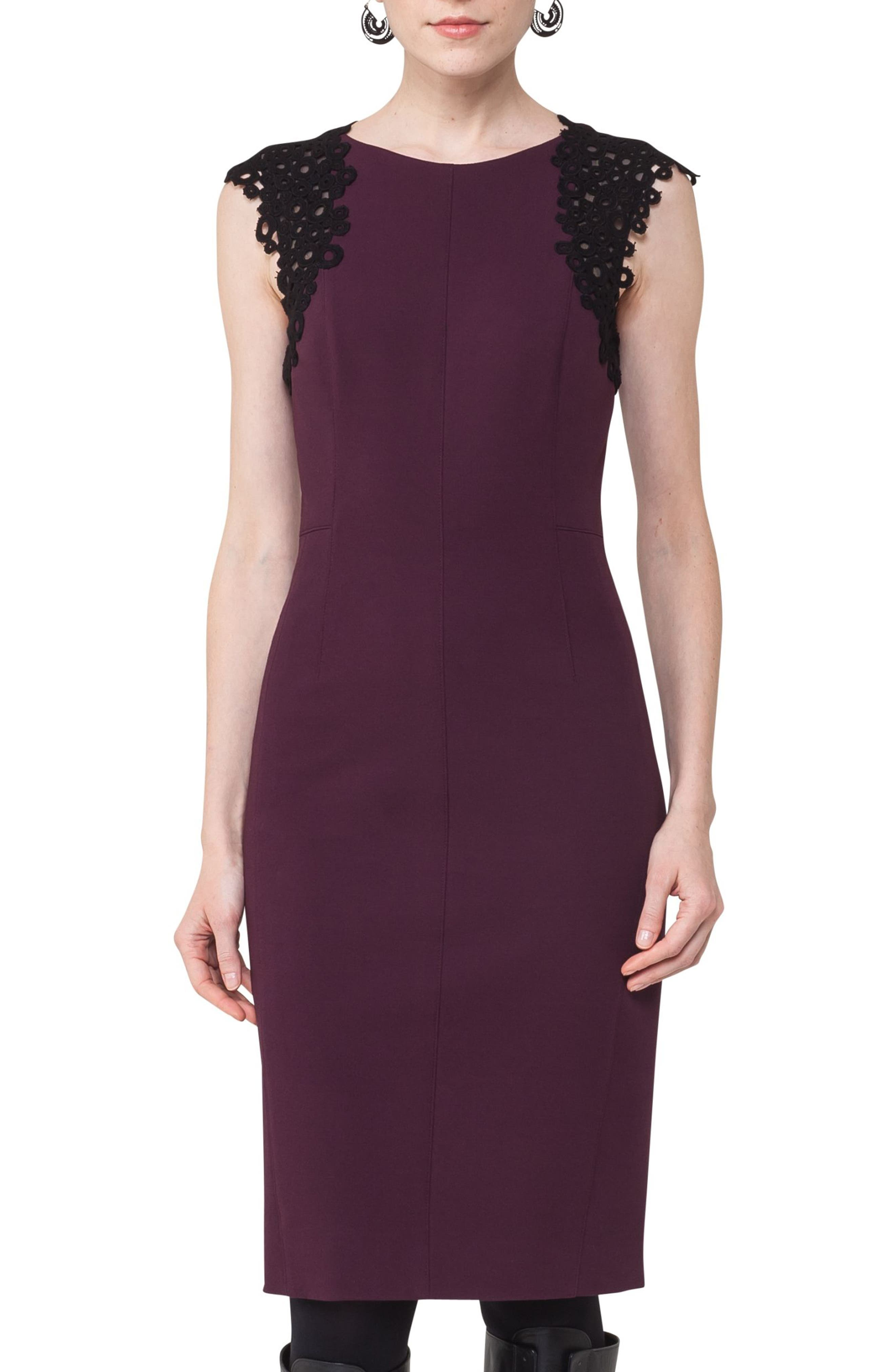 Lace Trim Sheath Dress,                             Alternate thumbnail 4, color,                             Wine