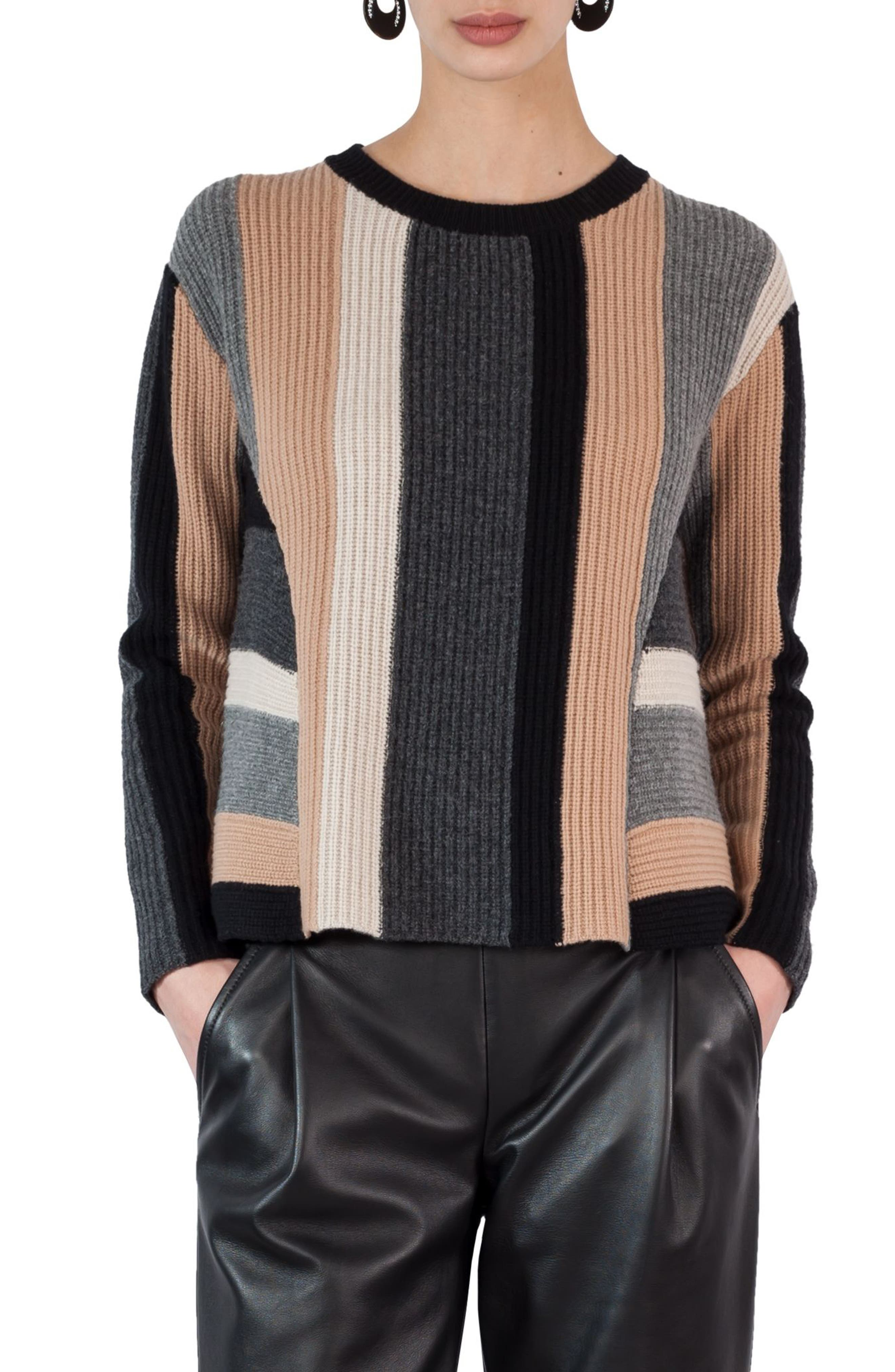 Multicolor Stripe Wool & Cashmere Pullover,                             Main thumbnail 1, color,                             Black-Vikuna-Coal