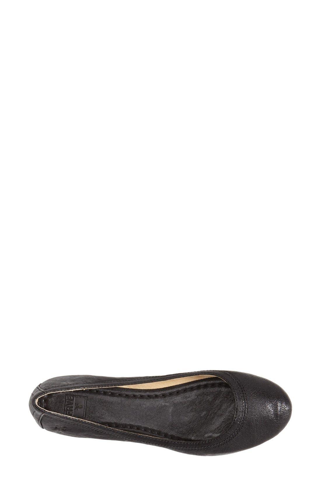 'Carson' Ballet Flat,                             Alternate thumbnail 3, color,                             Black/ Black Leather