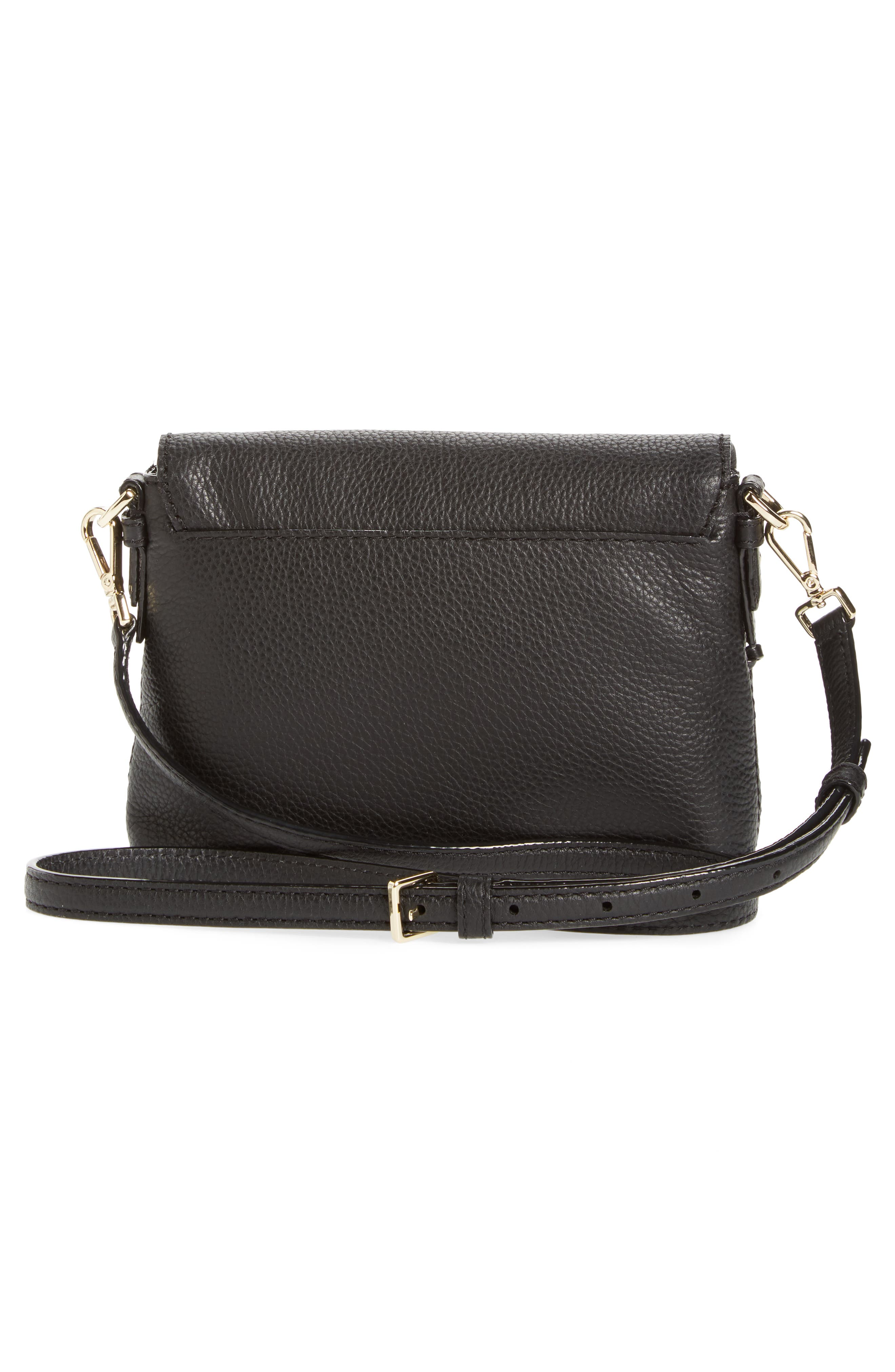 jackson street small harlyn leather crossbody bag,                             Alternate thumbnail 3, color,                             Black