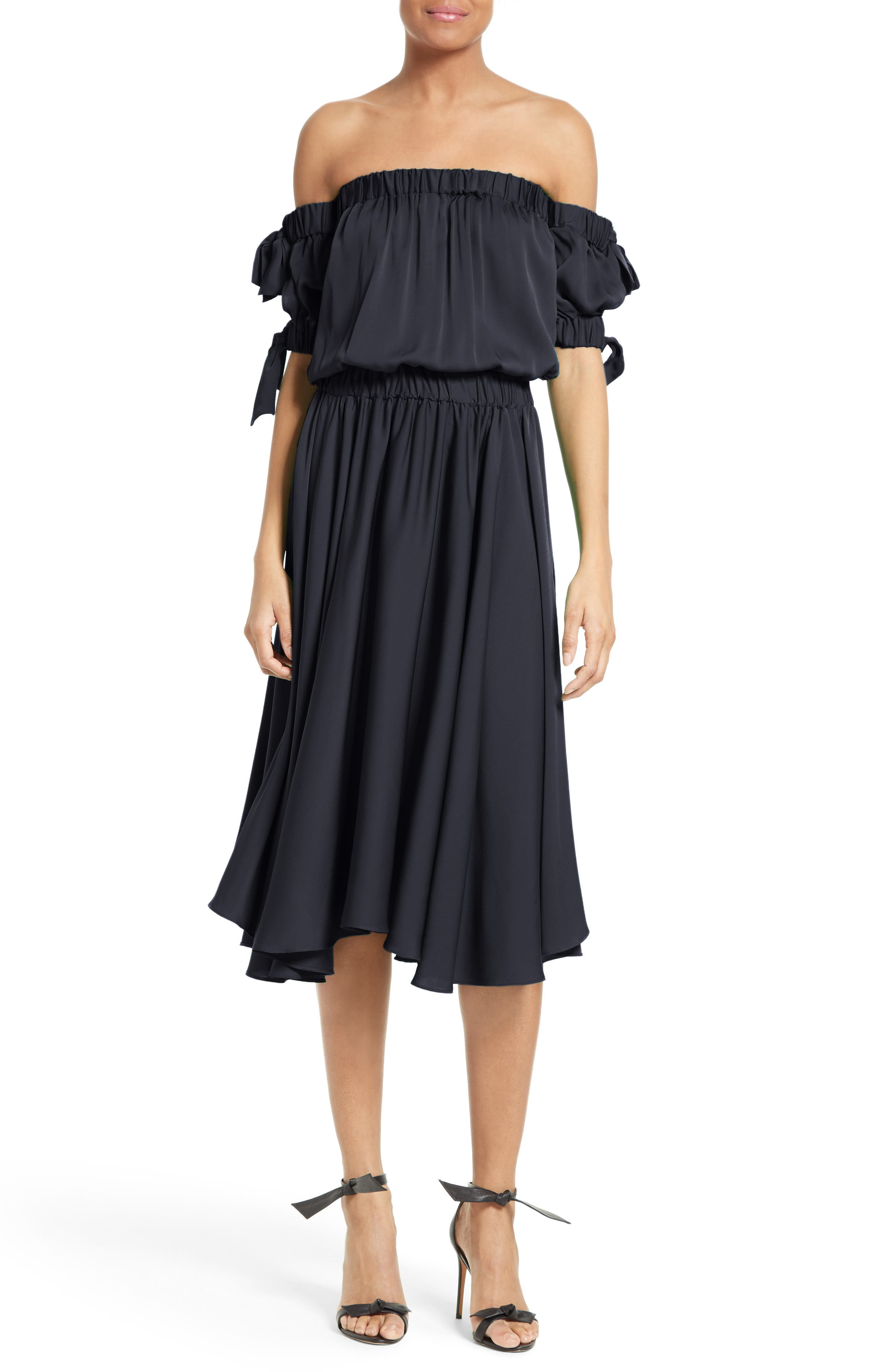 Zoey Off the Shoulder Stretch Silk Midi Dress,                         Main,                         color, Navy