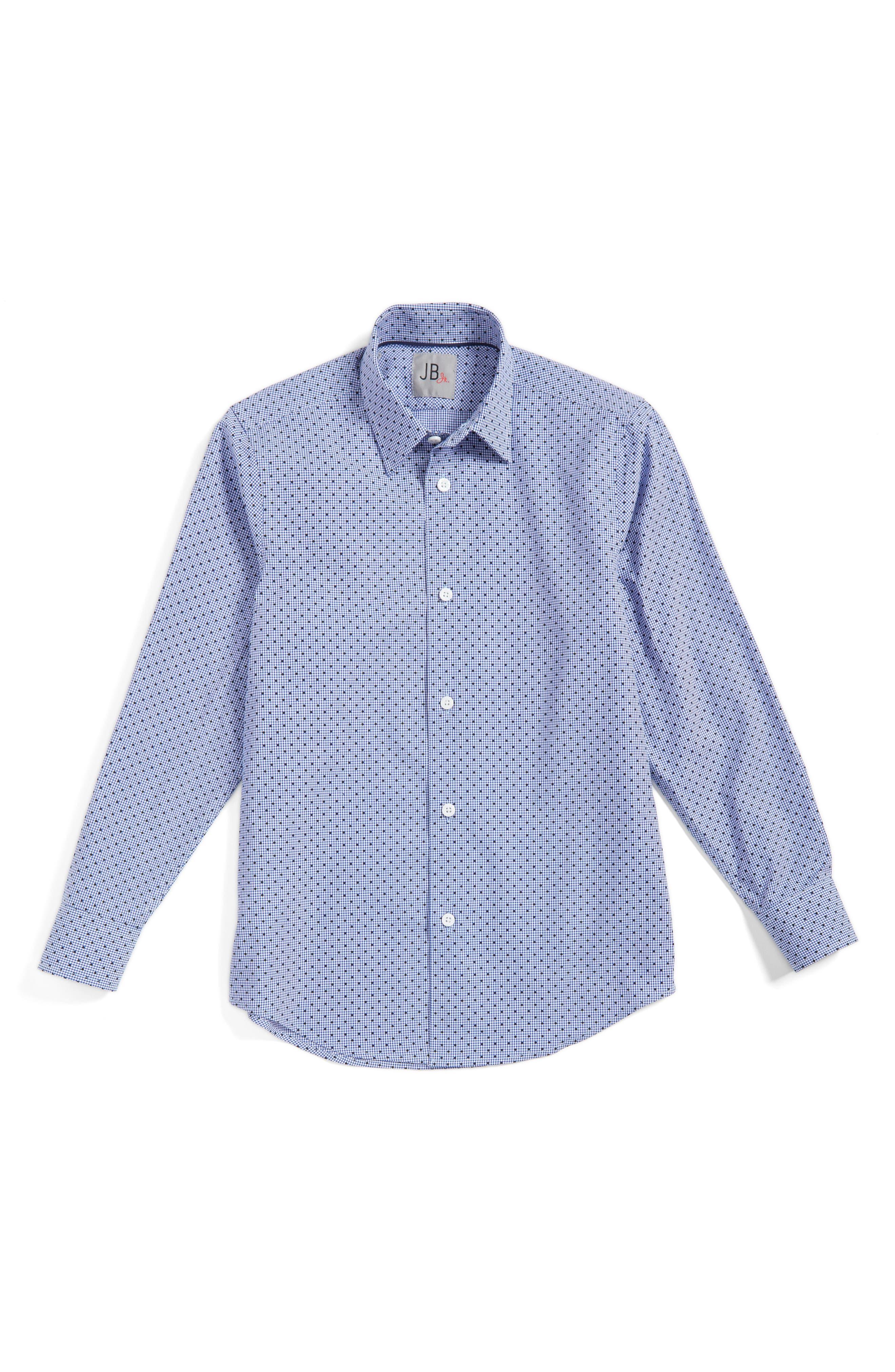 Dot Gingham Dress Shirt,                         Main,                         color, Navy