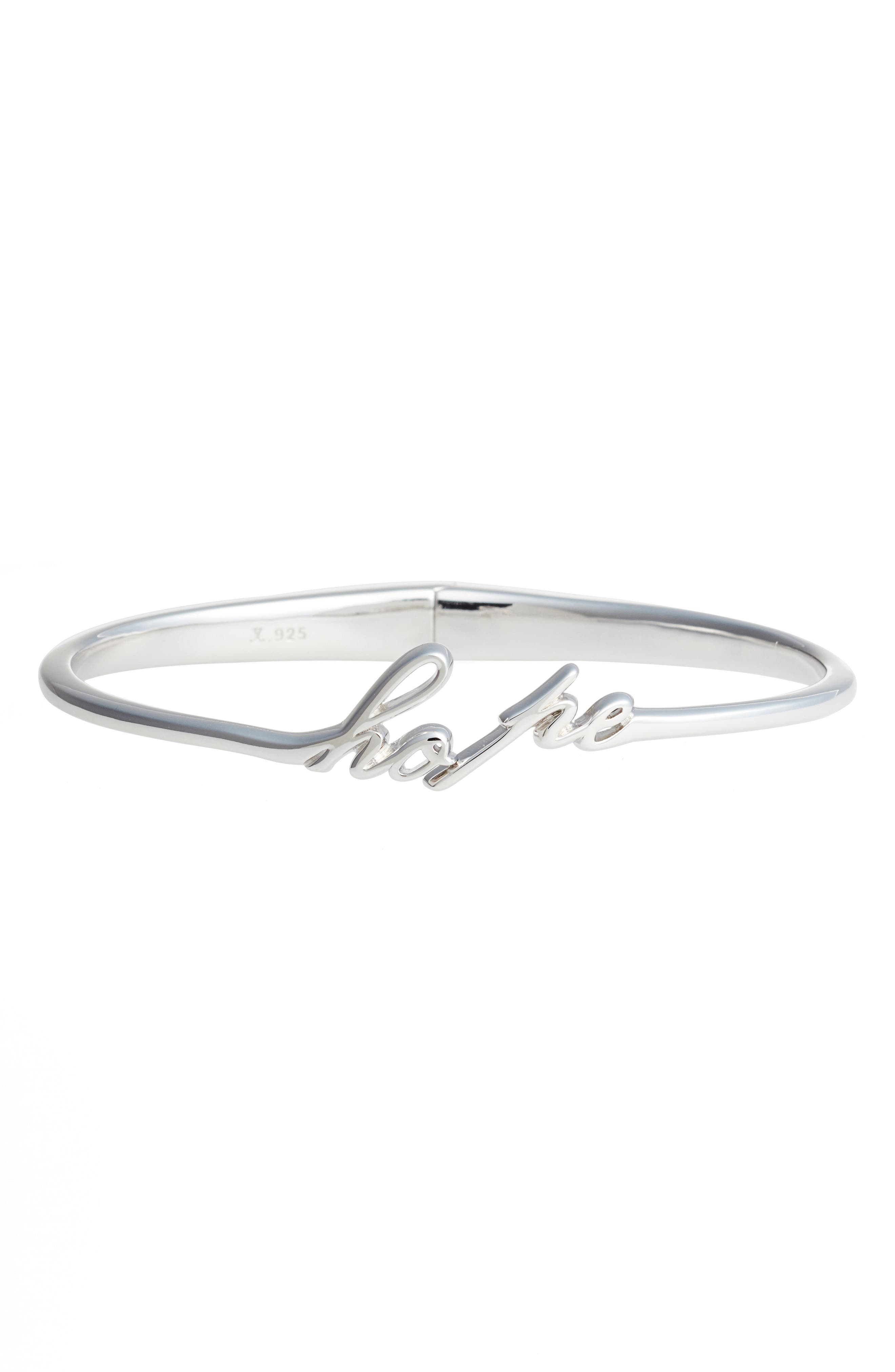 To Live by Hope Hinge Bangle,                             Main thumbnail 1, color,                             Silver