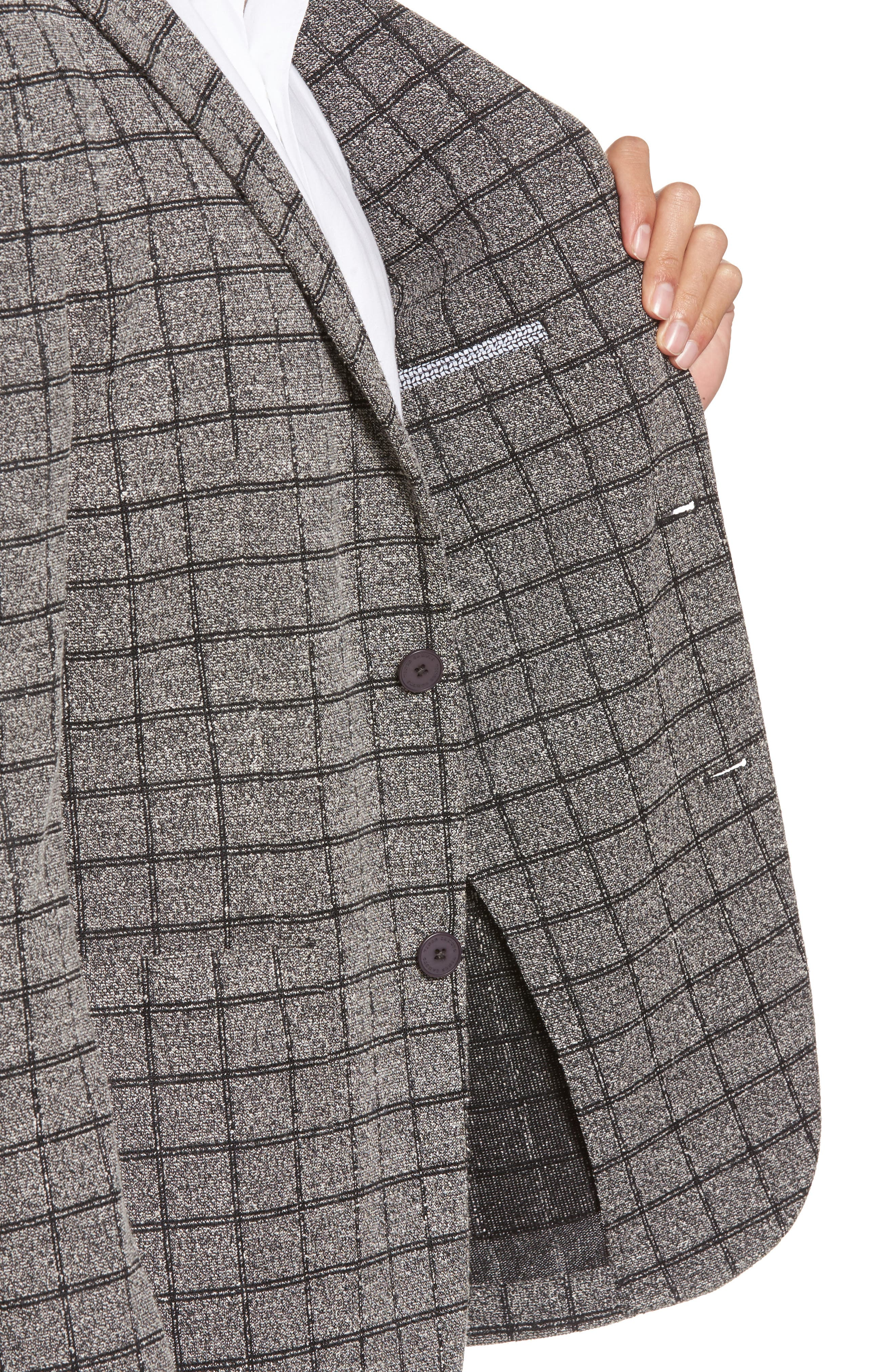 Del Aria Slim Fit Check Knit Jacket,                             Alternate thumbnail 4, color,                             Charcoal Windowpane Boucle