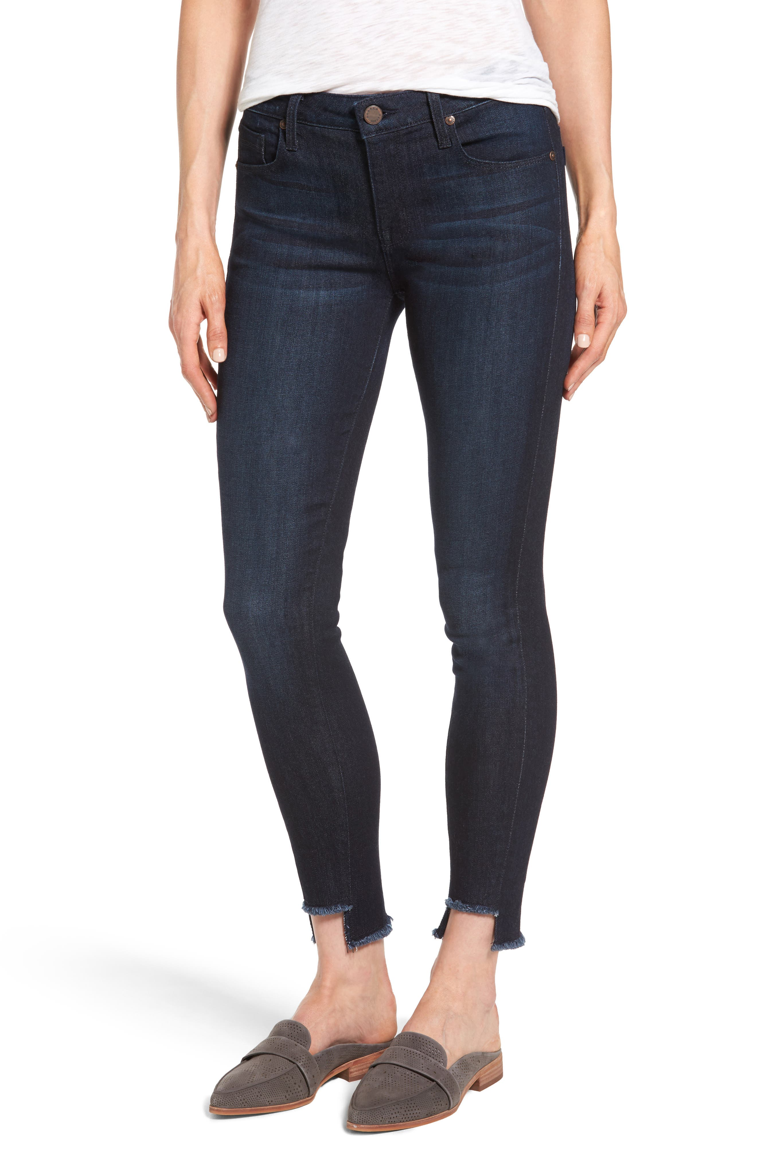 Main Image - Parker Smith Twisted Seam Skinny Jeans (Blue Steel)