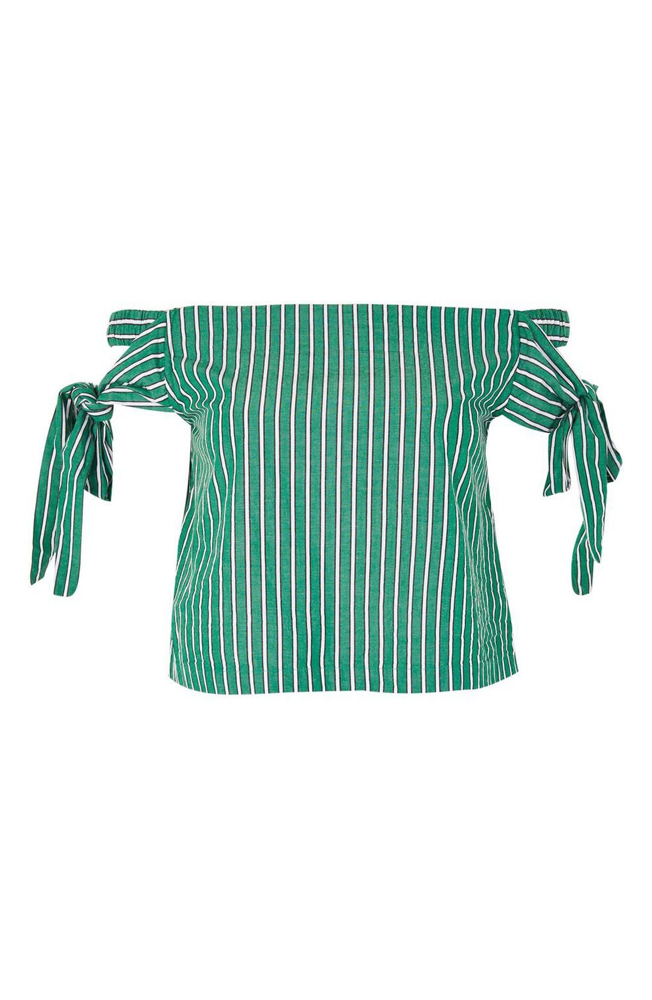 Alternate Image 4  - Topshop Bardot Tie Sleeve Stripe Top